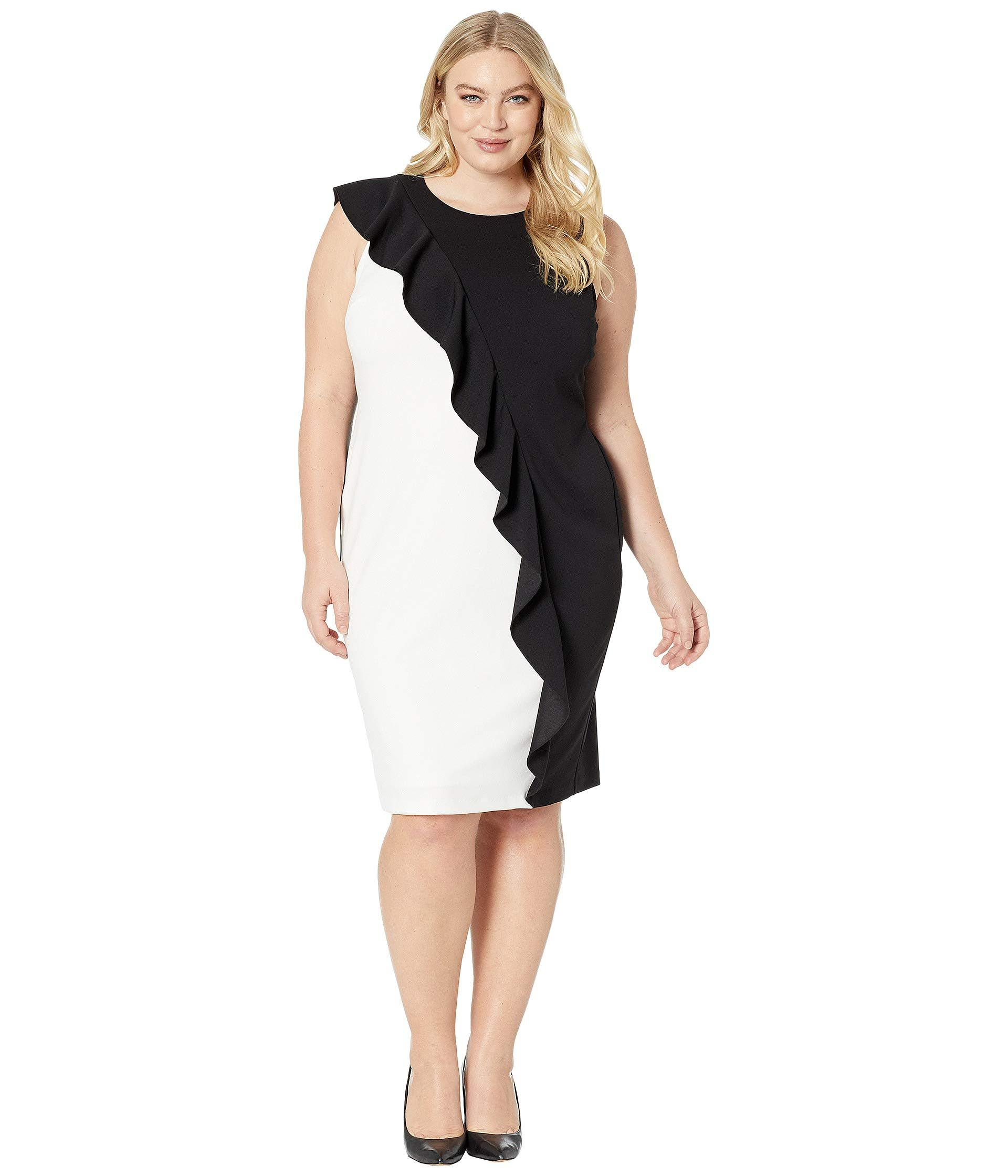 b819fa18978 Lyst - Adrianna Papell Plus Size Color Blocked Knit Crepe Sheath ...