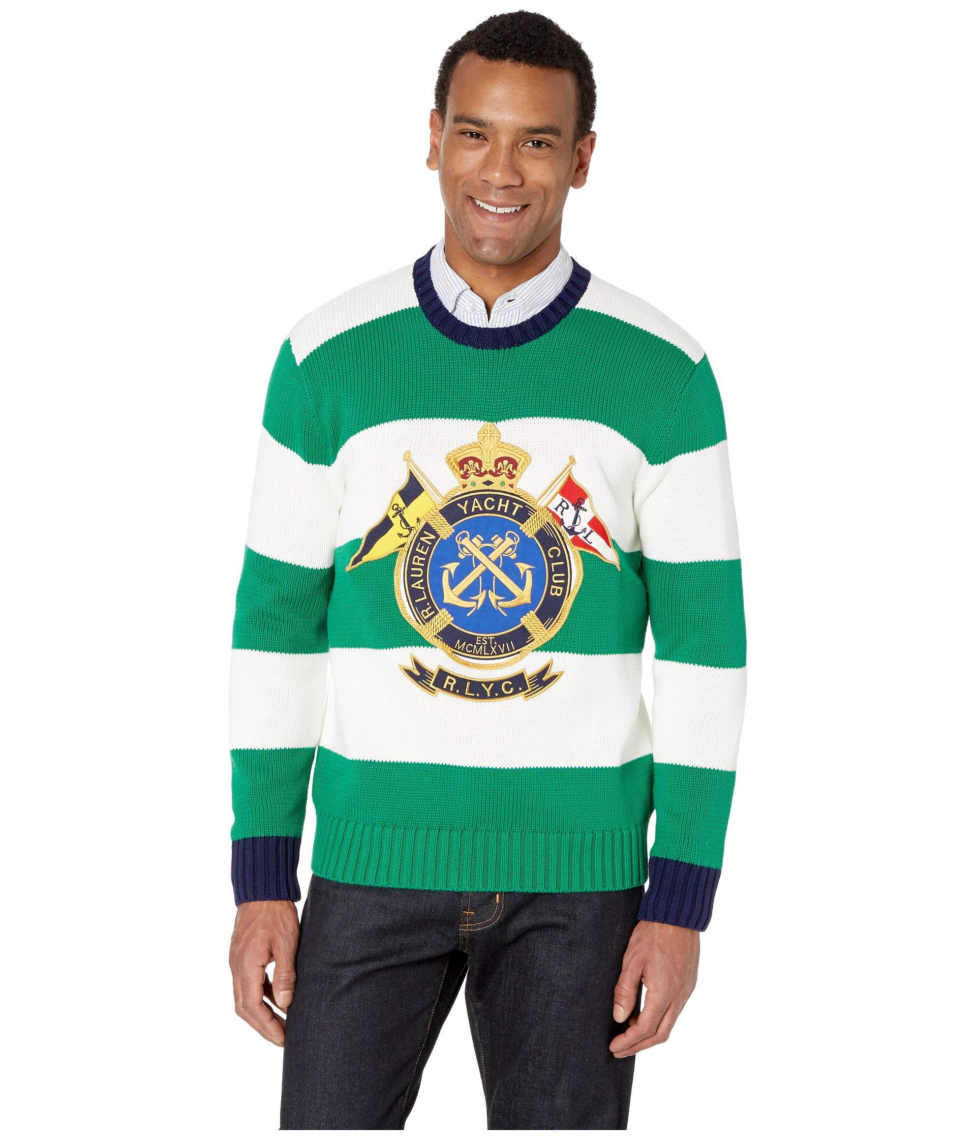 ccdca60acdc9c Lyst - Polo Ralph Lauren Striped Knitted Sweater in Green for Men ...