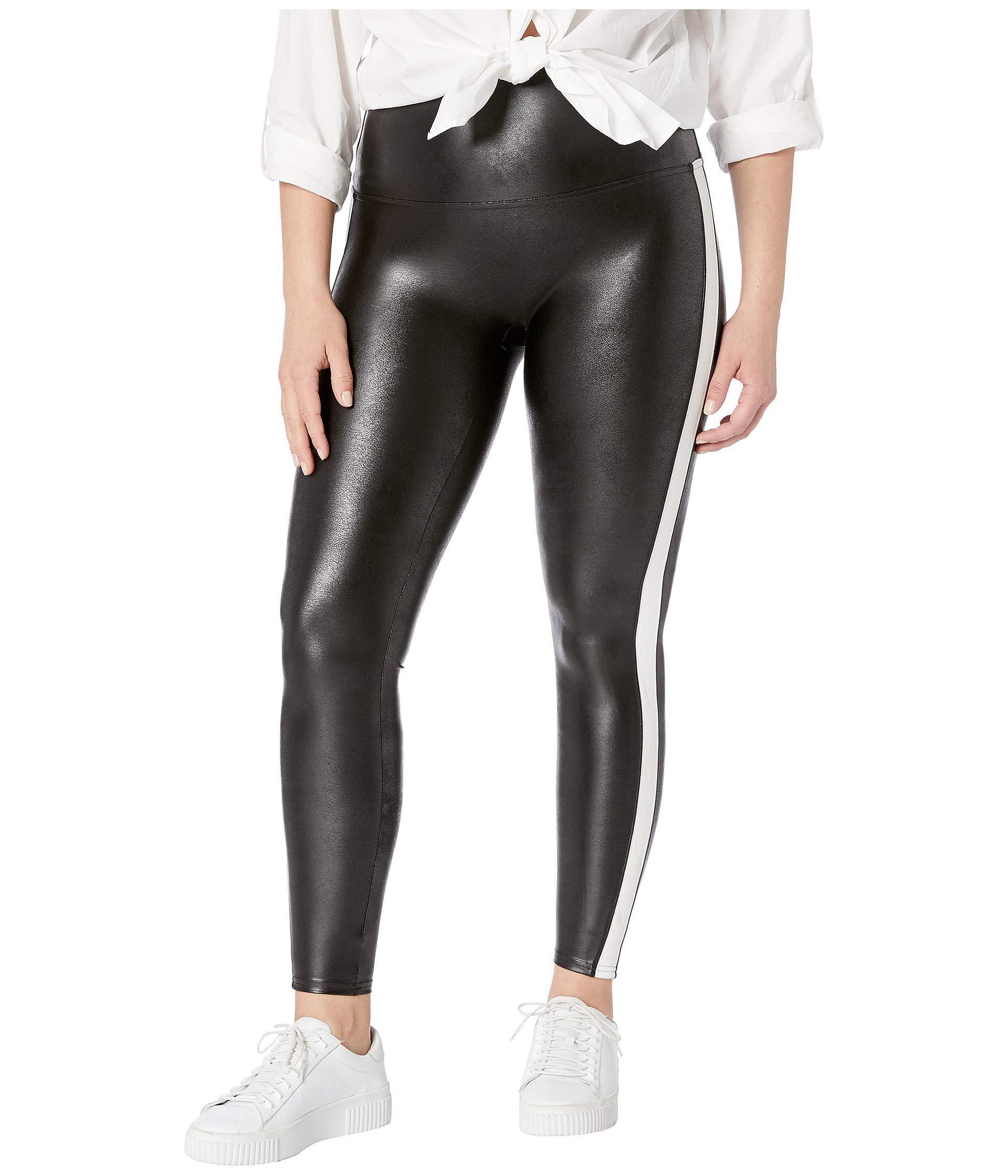 b878f5f751f Lyst - Spanx Plus Size Faux Leather Side Stripe Leggings (very Black ...