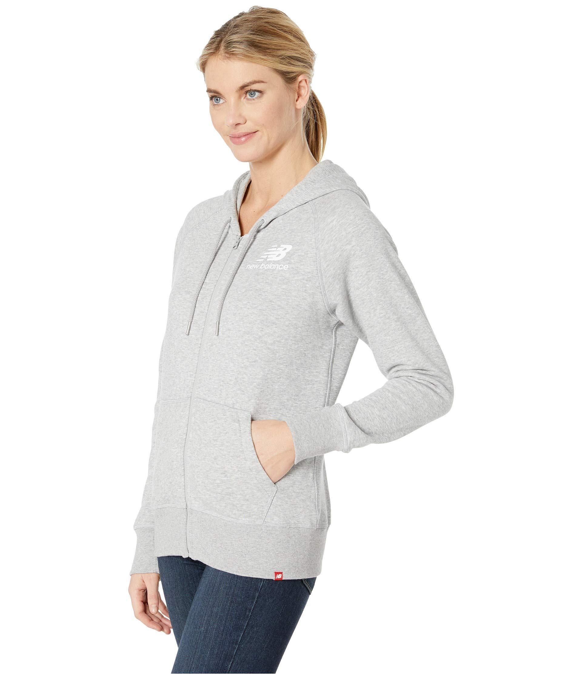 8efc7afb267b4 Lyst - New Balance Essentials Full Zip Hoodie (pigment) Women's Sweatshirt  in Gray