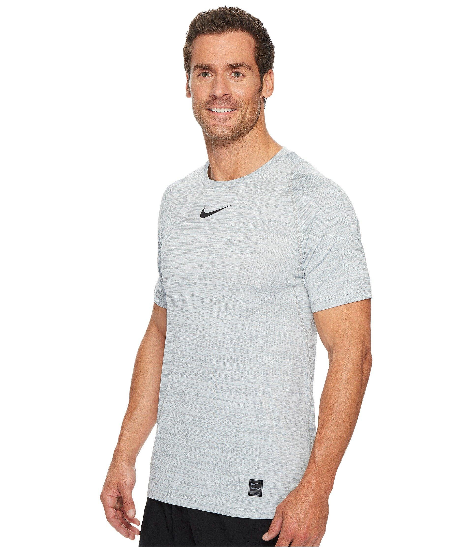 f868c645 Lyst - Nike Pro Heathered Short Sleeve Training Top (blue Void/dark Obsidian/black)  Men's Short Sleeve Pullover in Gray for Men