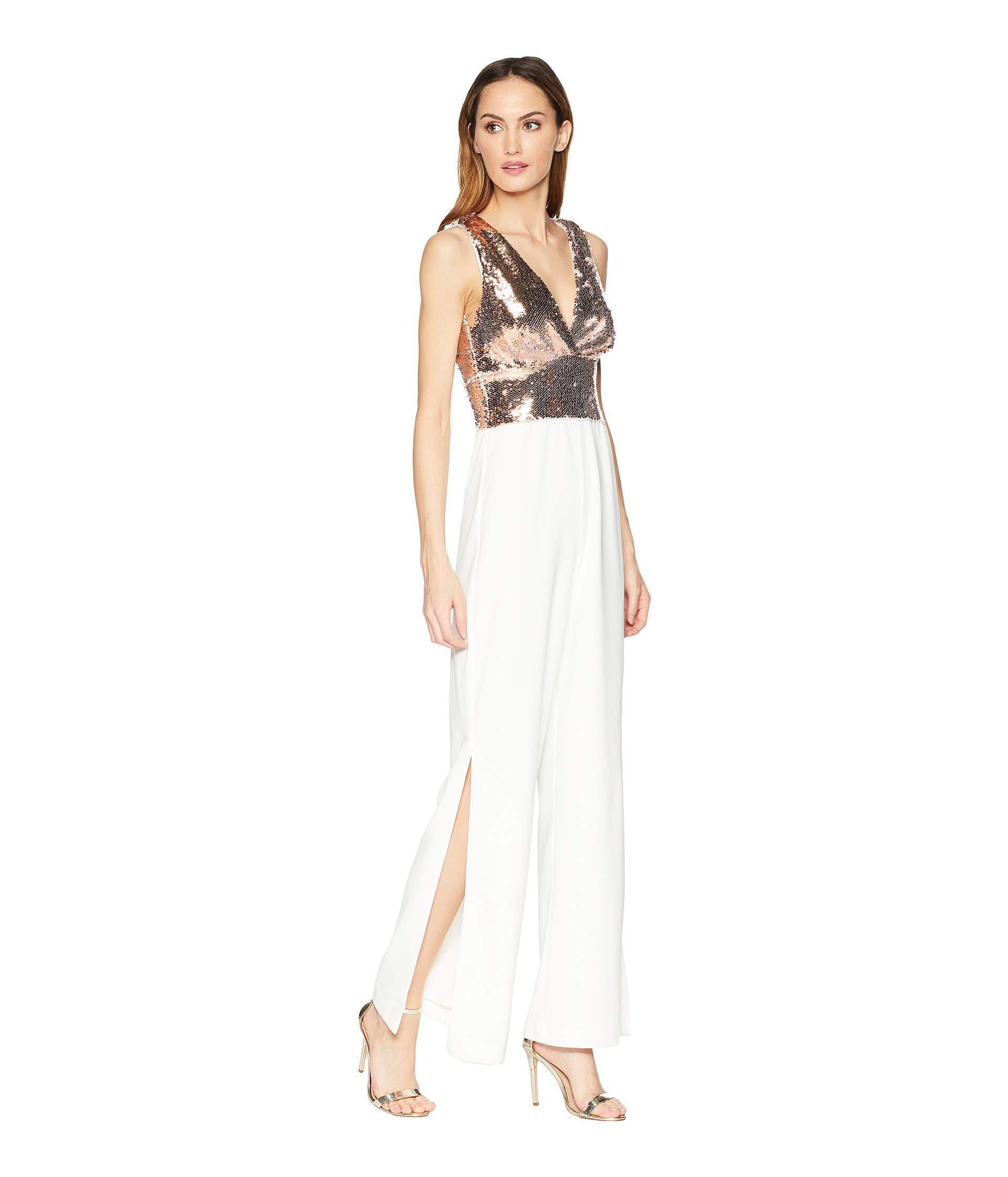01f5f10da879 Lyst - Alexia Admor Mixed Sequin Split-hem Jumpsuit (rose Gold ...