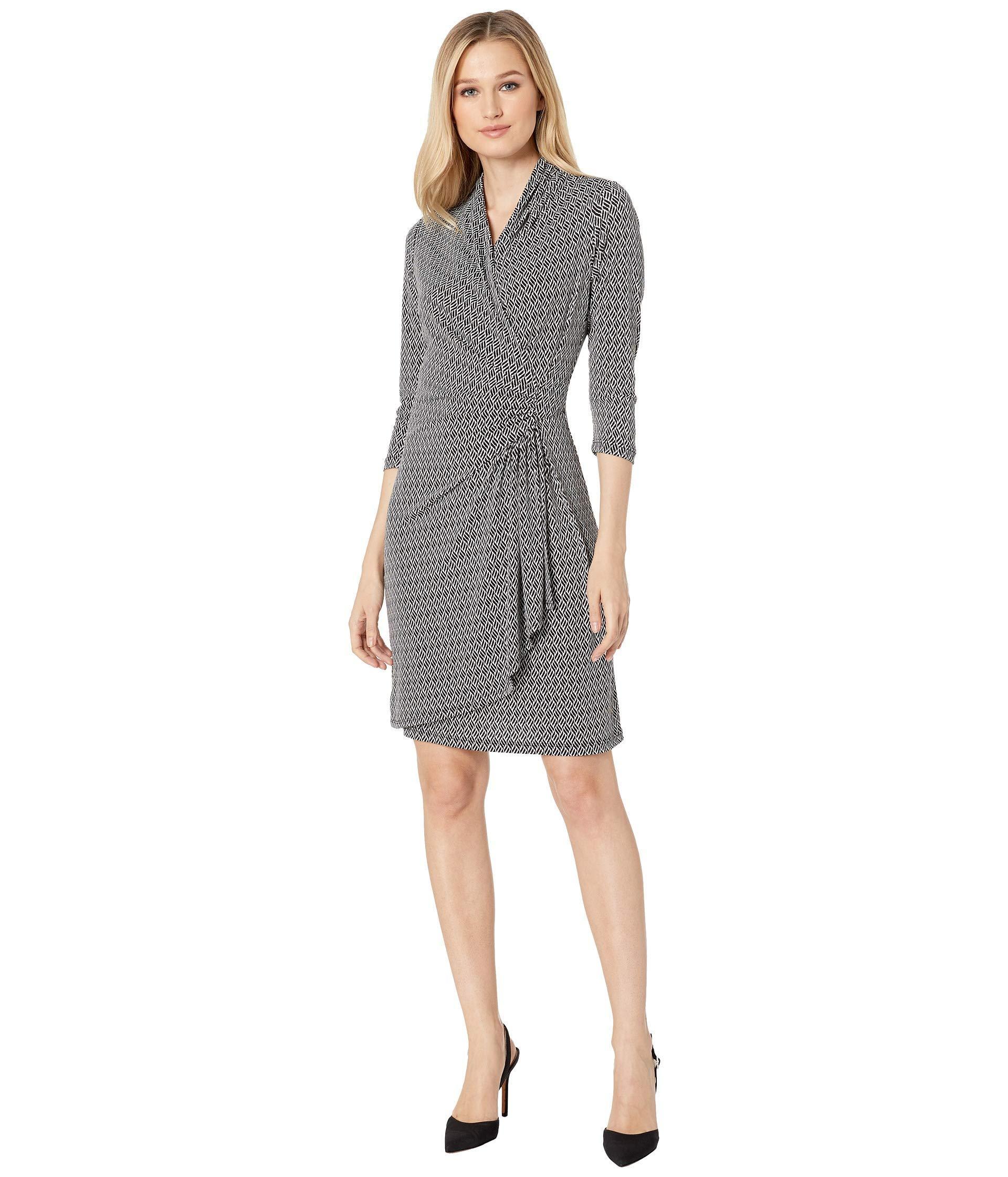 94c7b6ef8d7 Lyst - Karen Kane 3 4 Sleeve Cascade Wrap Dress (print) Women s ...
