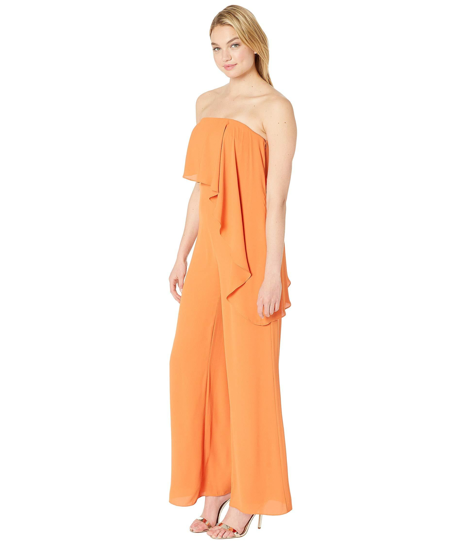 271fb4858f6f Lyst - Halston Strapless Wide Leg Jumpsuit With Flounce Overlay (sunset 2)  Women s Jumpsuit   Rompers One Piece in Orange