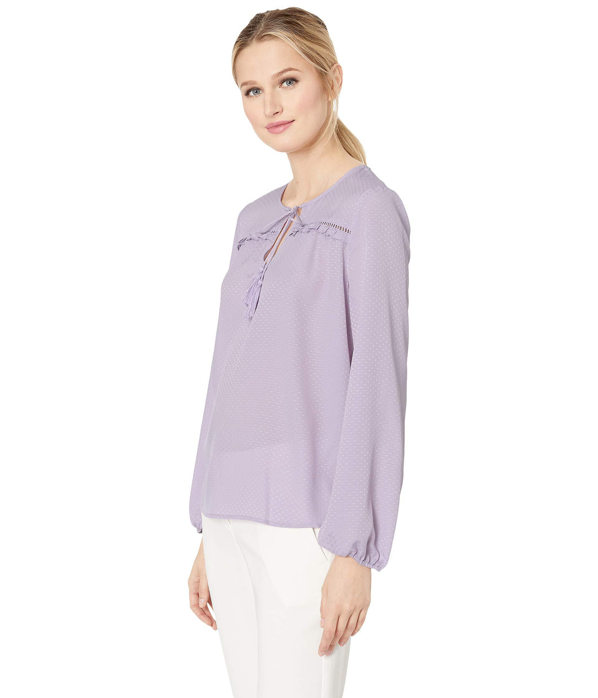 e6d3e68a8c Lyst - Cece Long Sleeve Satin Jacquard Ruffled Tie Neck Blouse (soft  Orchid) Women s Blouse in Purple