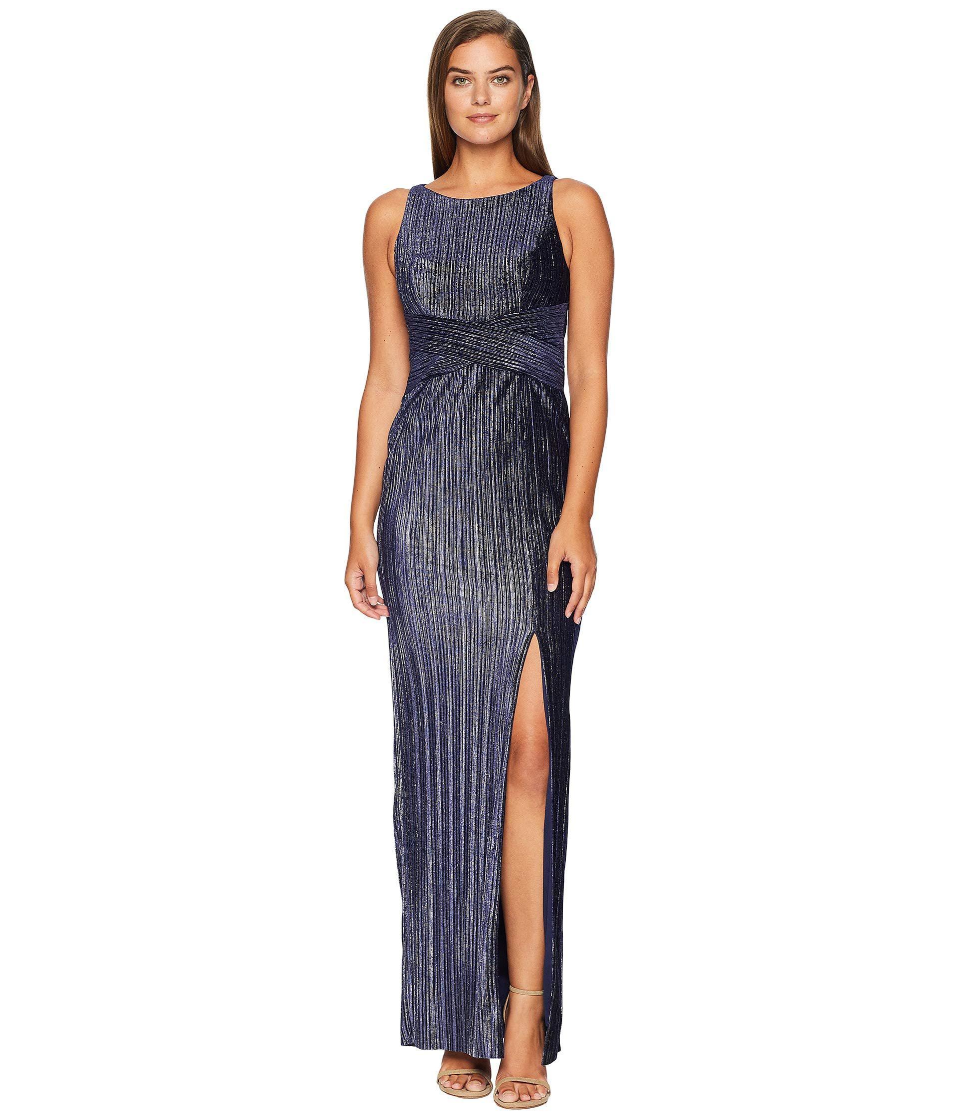95d58442233c Adrianna Papell Pleat Velvet Column Dress (navy) Women's Dress in ...
