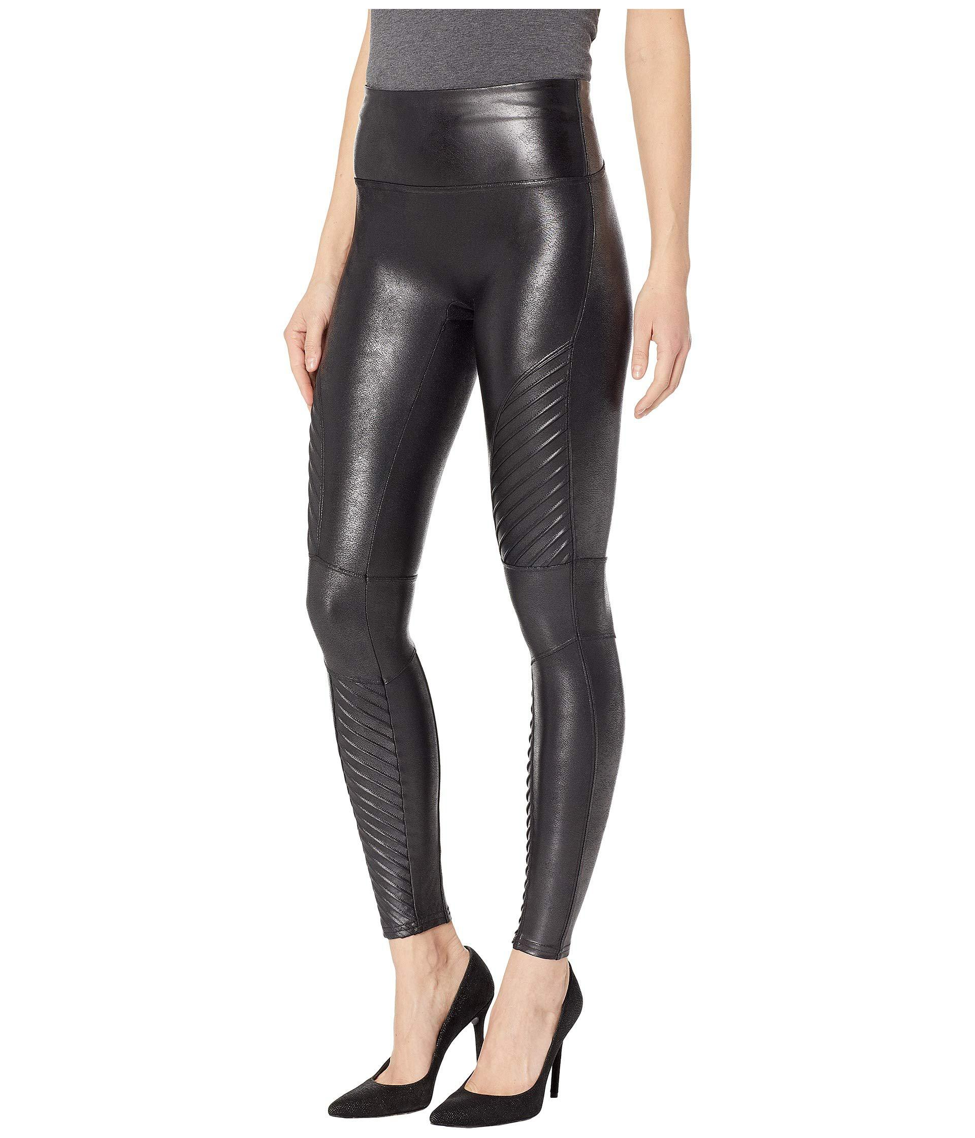 Lyst Spanx Faux Leather Leggings Moto Petite Black Women S