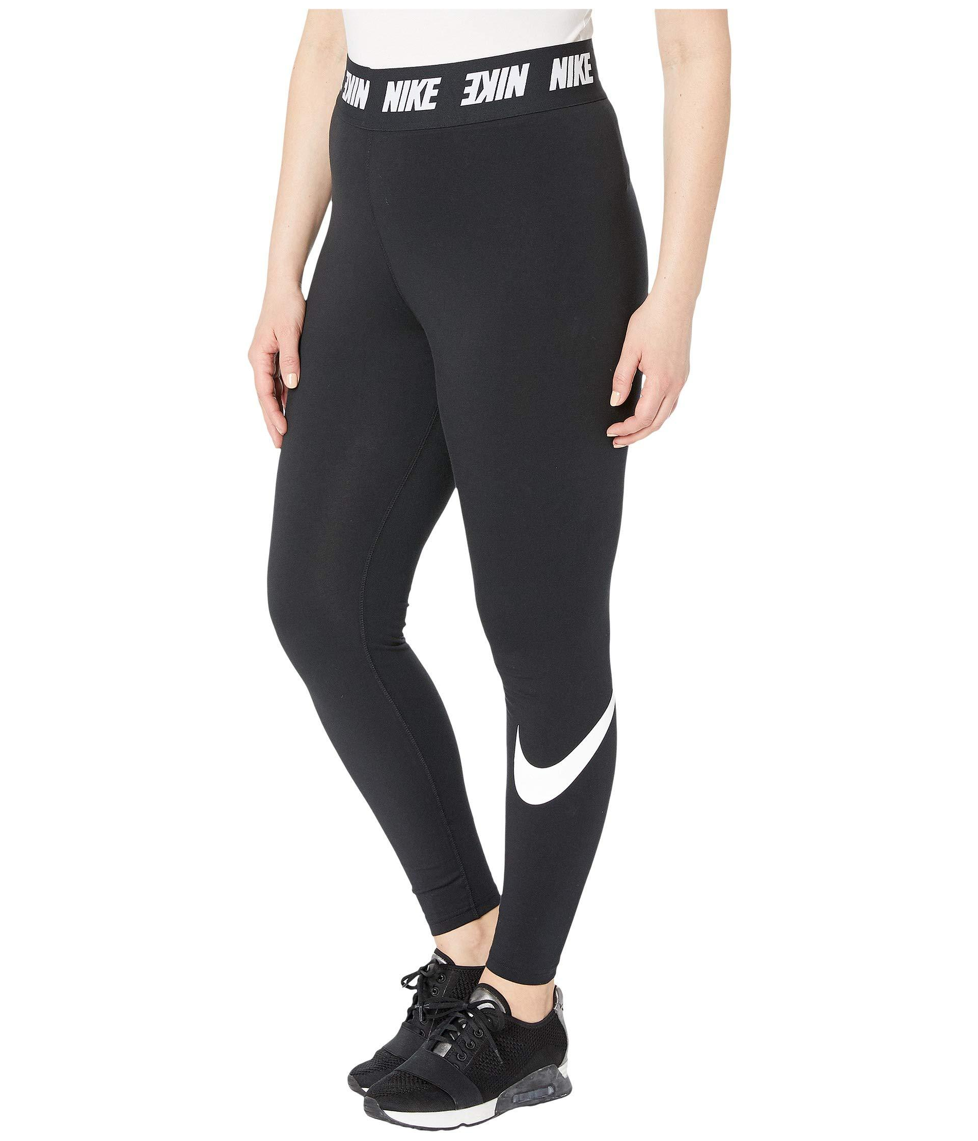 Lyst - Nike Plus Size Sportswear Leggings Club High-waist (black white)  Women s Casual Pants in Black 0eba4d699fa9