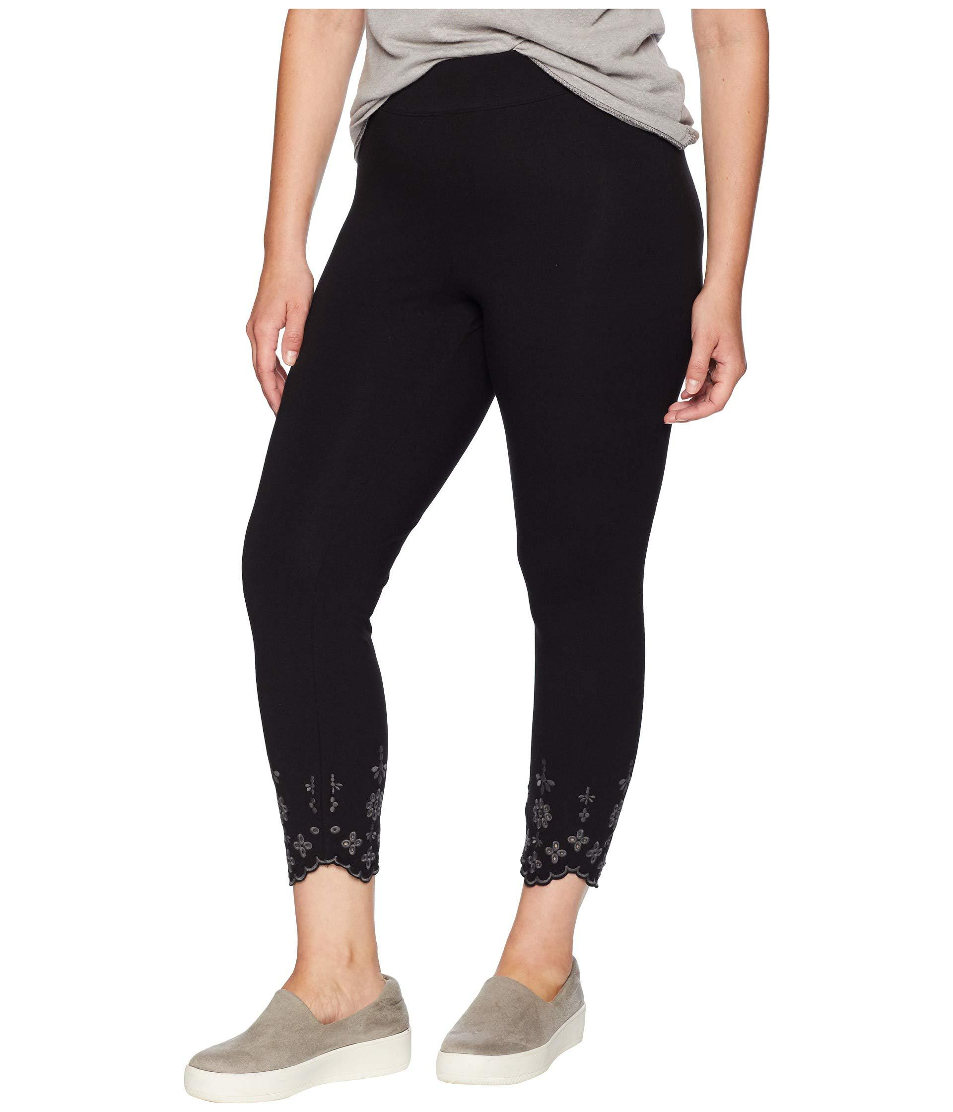 1a59fb4453a Hue - Plus Size Embroidered Hem Cotton Skimmer Leggings (black) Women s  Casual Pants -. View fullscreen