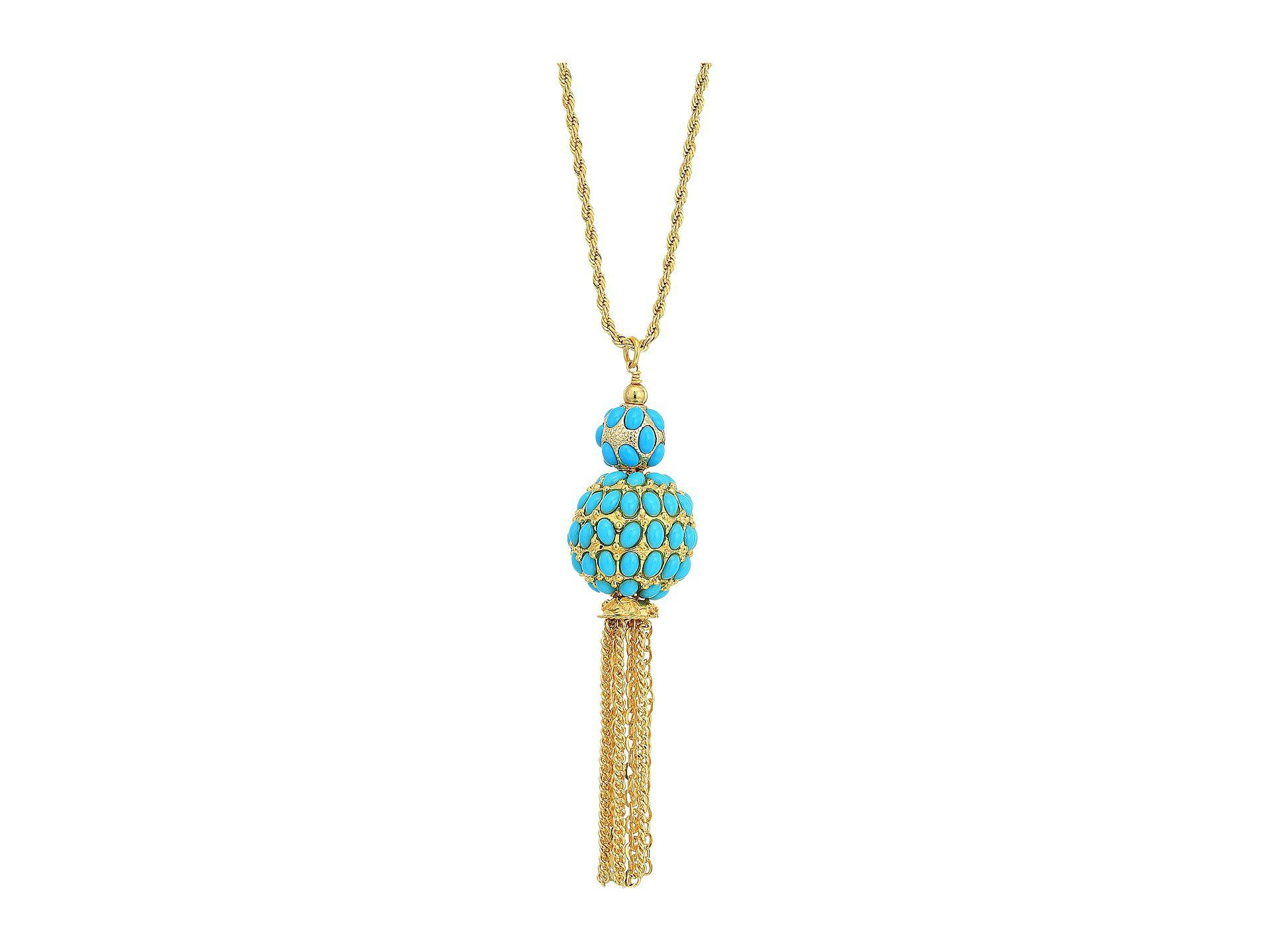 2858876f8670 Kenneth Jay Lane. Women s Metallic 33 Gold Chain With Double Turquoise  Cabochon Ball gold ...