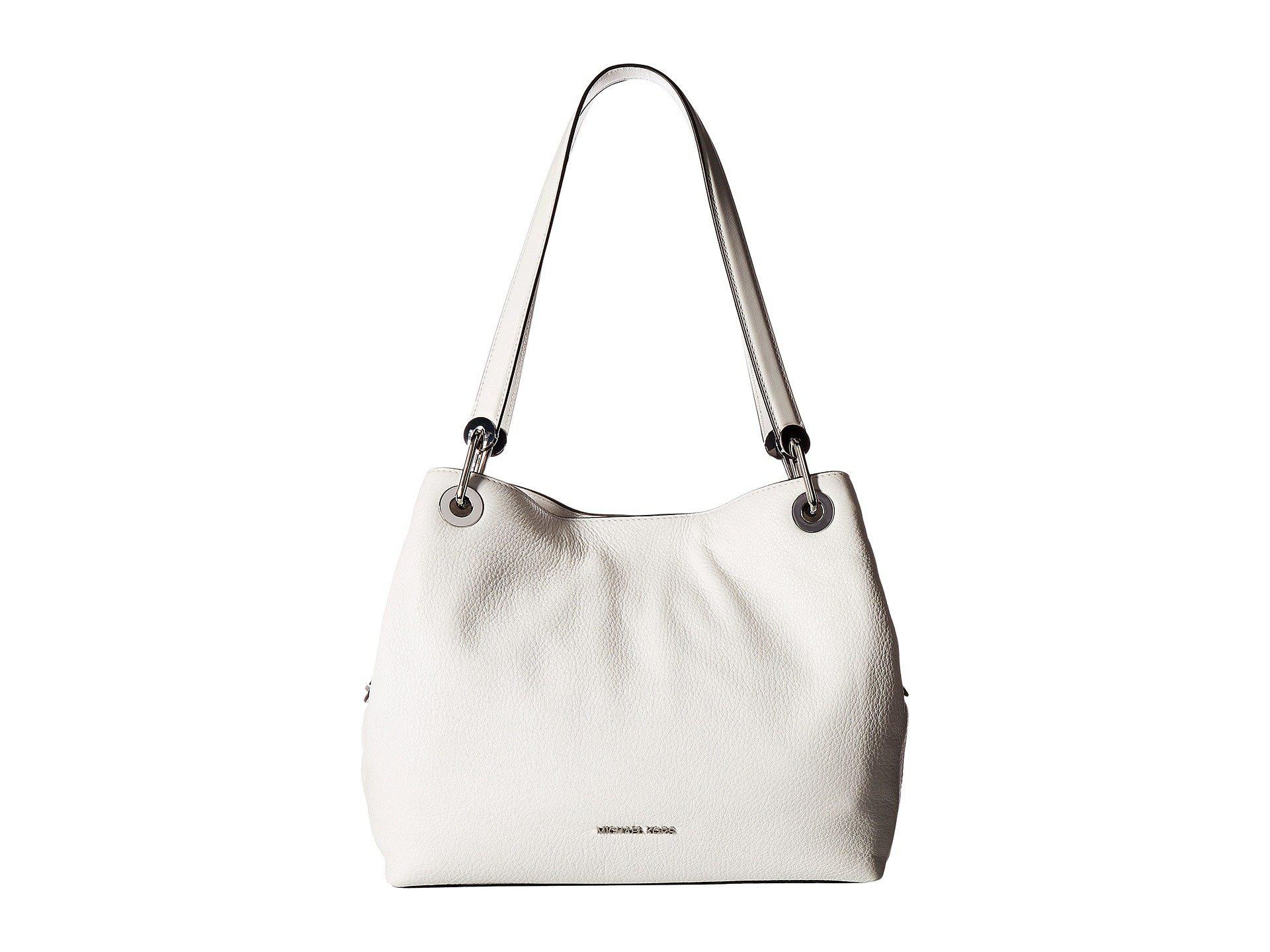 Raven Large Shoulder Tote Bag in Optic White Small Pebble Leather Michael Michael Kors iDQyUiWC
