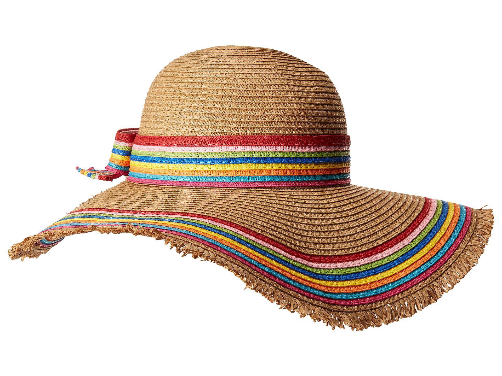 f7f4f2fdfe Lyst - Betsey Johnson Rainbow Raw Edge Floppy Hat (tan) Caps