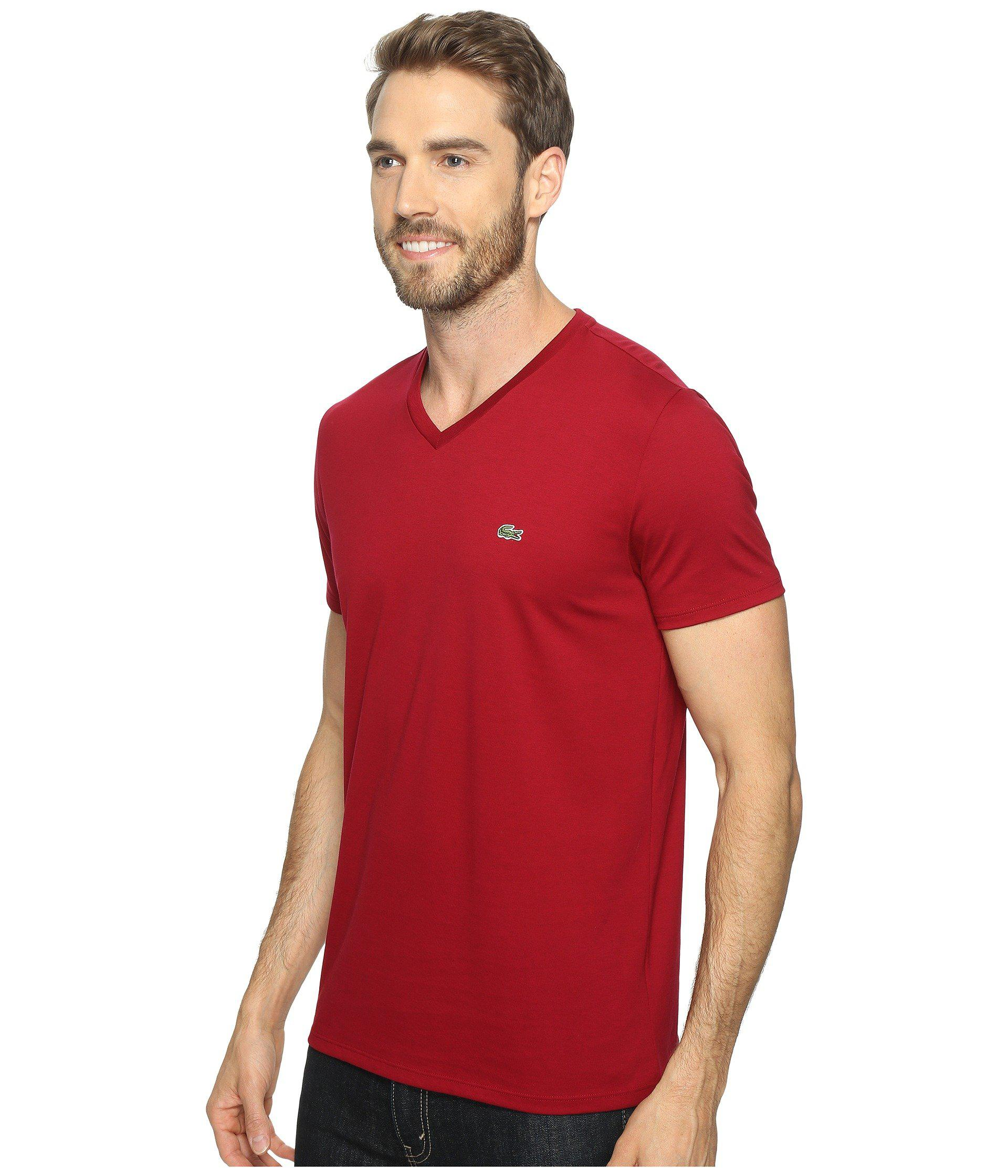 Lyst - Lacoste S s Pima Jersey V-neck T-shirt in Red for Men 2ffed72b1263