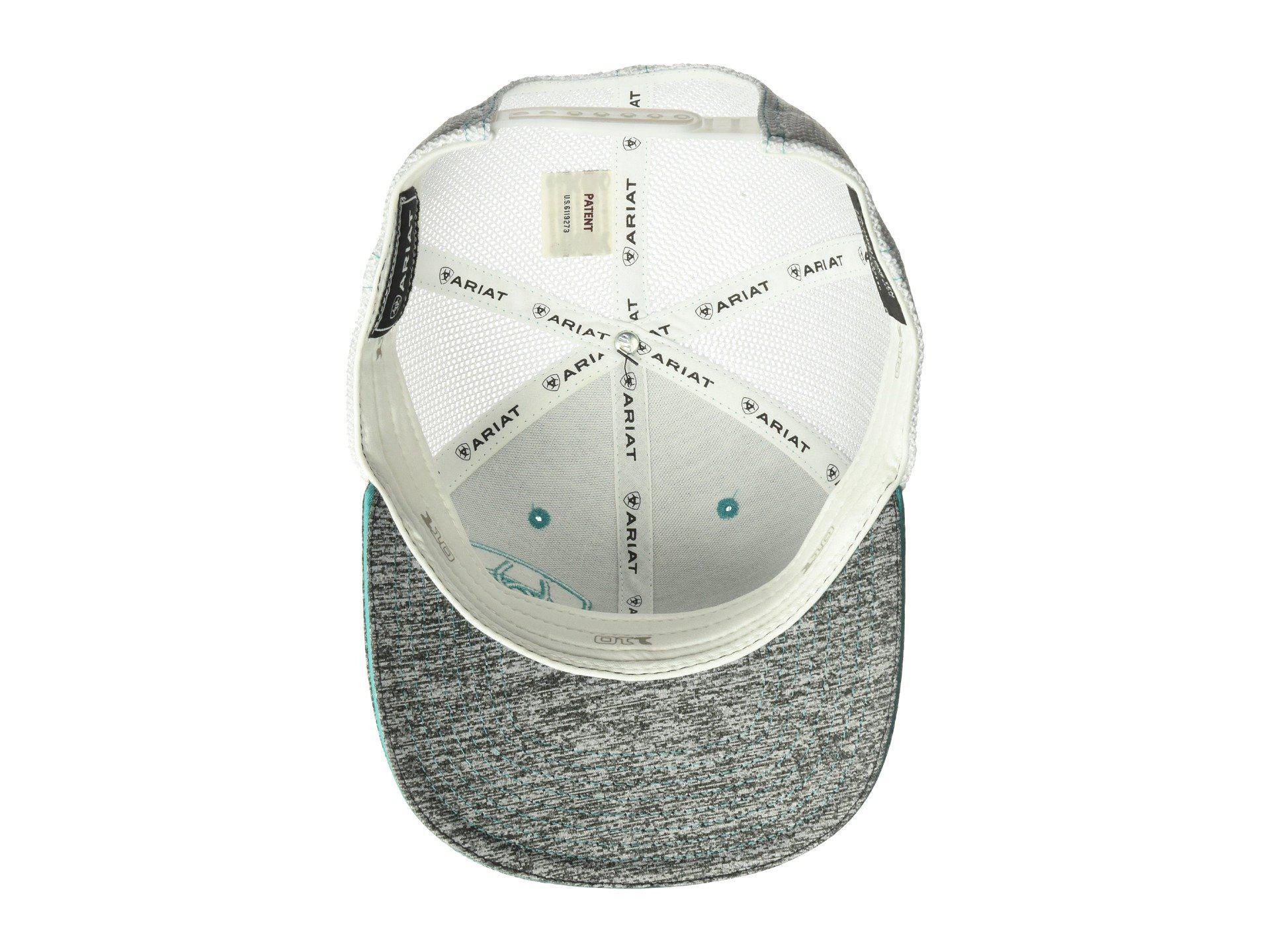 3683a89fcbaa7 Ariat - Gray Embroidered Shield Flexfit Cap (grey turquoise) Caps for Men  -. View fullscreen