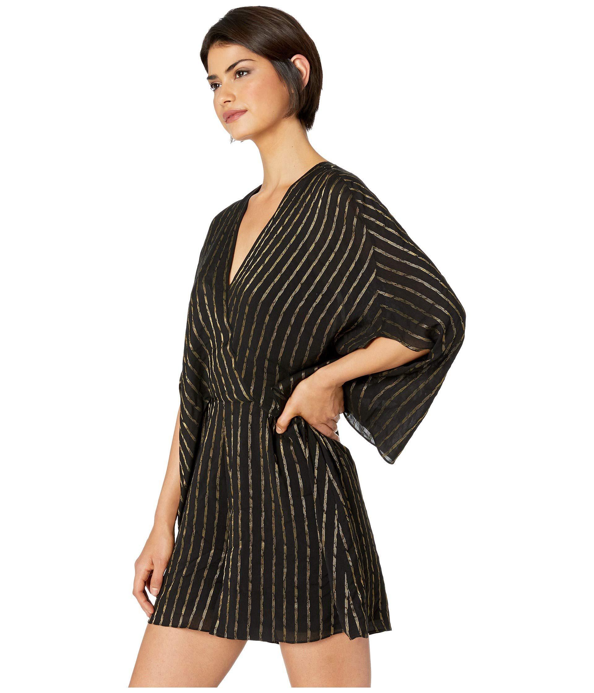 612cc63d21e4 Lyst - Halston Cape Sleeve V-neck Faux Wrap Romper (black antique Gold) Women s  Jumpsuit   Rompers One Piece in Black