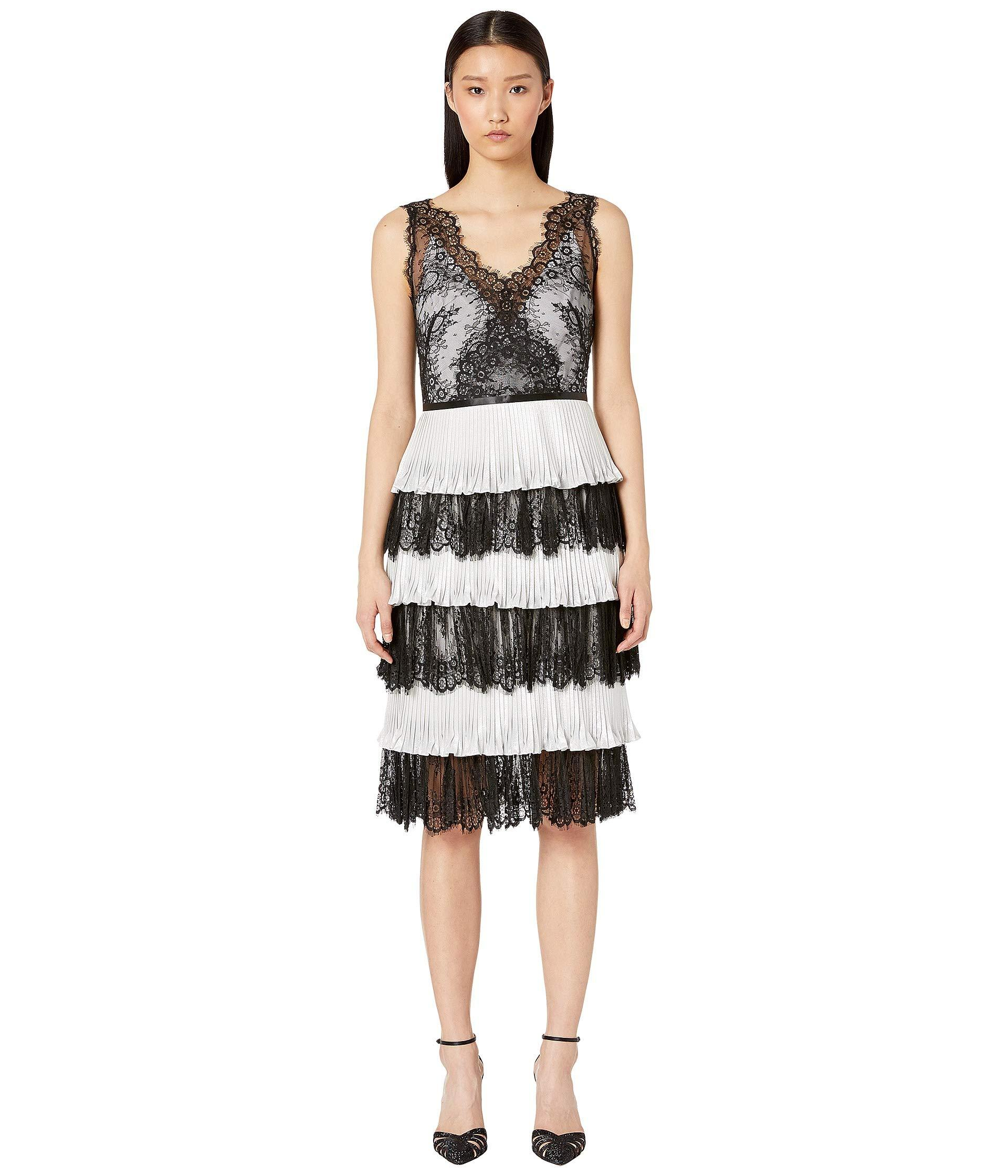 650a019a Marchesa notte. Pleated Shimmer Lame Tea Length Gown (black/white) Women's  Dress