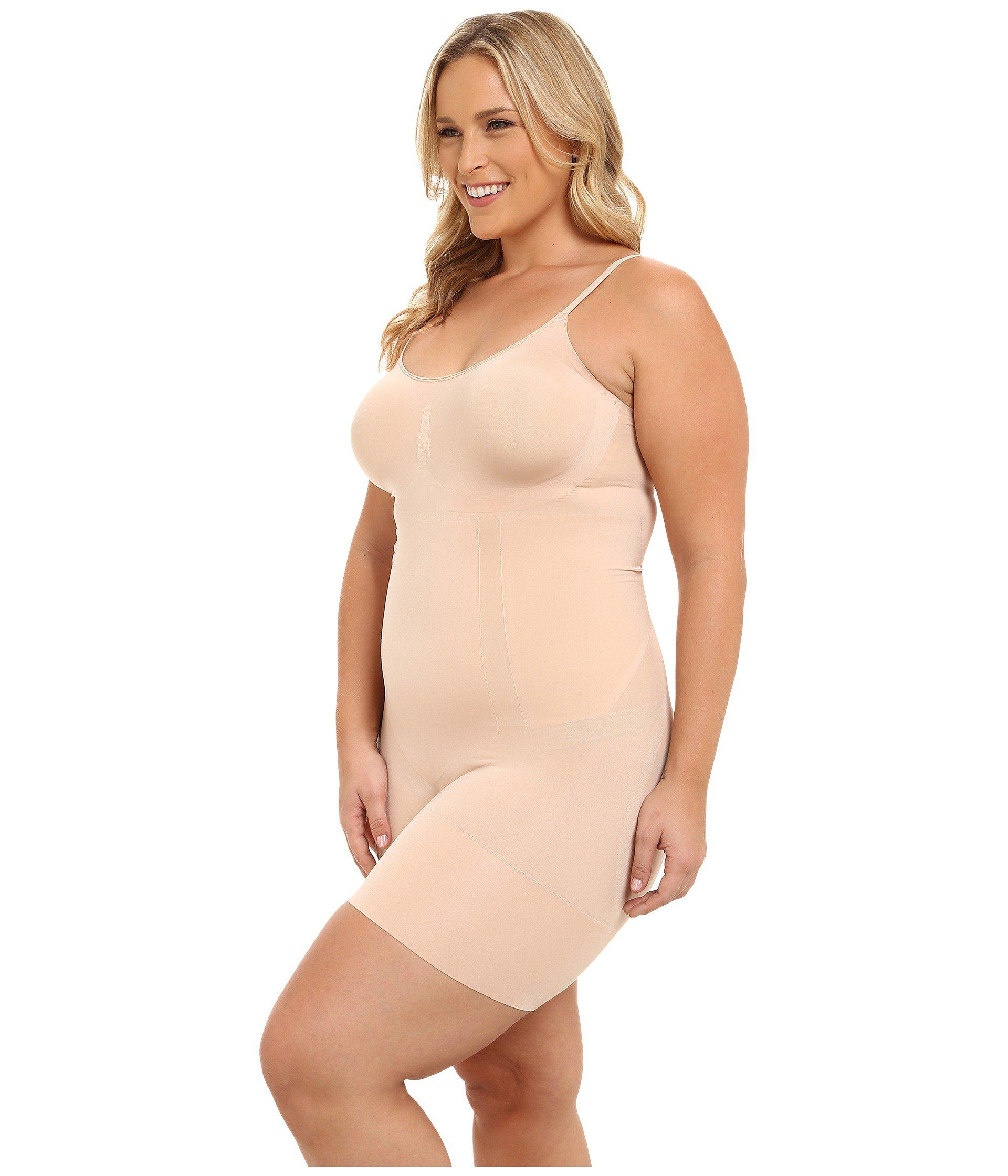 732fa230a1fe3 Lyst - Spanx Plus Size Oncore Mid-thigh Bodysuit (very Black ...