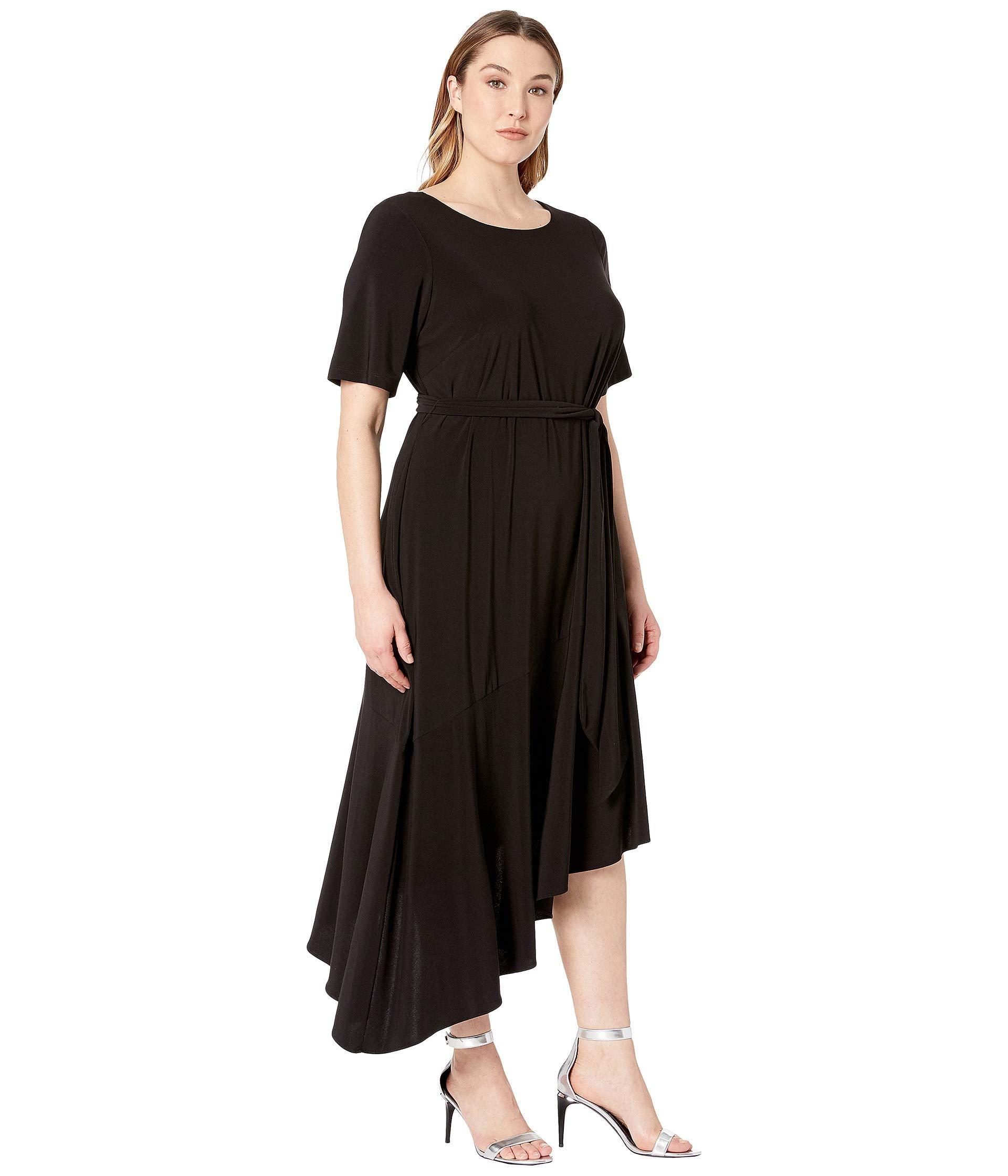 fdc19b97d645 Lyst - Adrianna Papell Plus Size Jersey Asymmetrical Ruffle Dress (black)  Women's Dress in Black