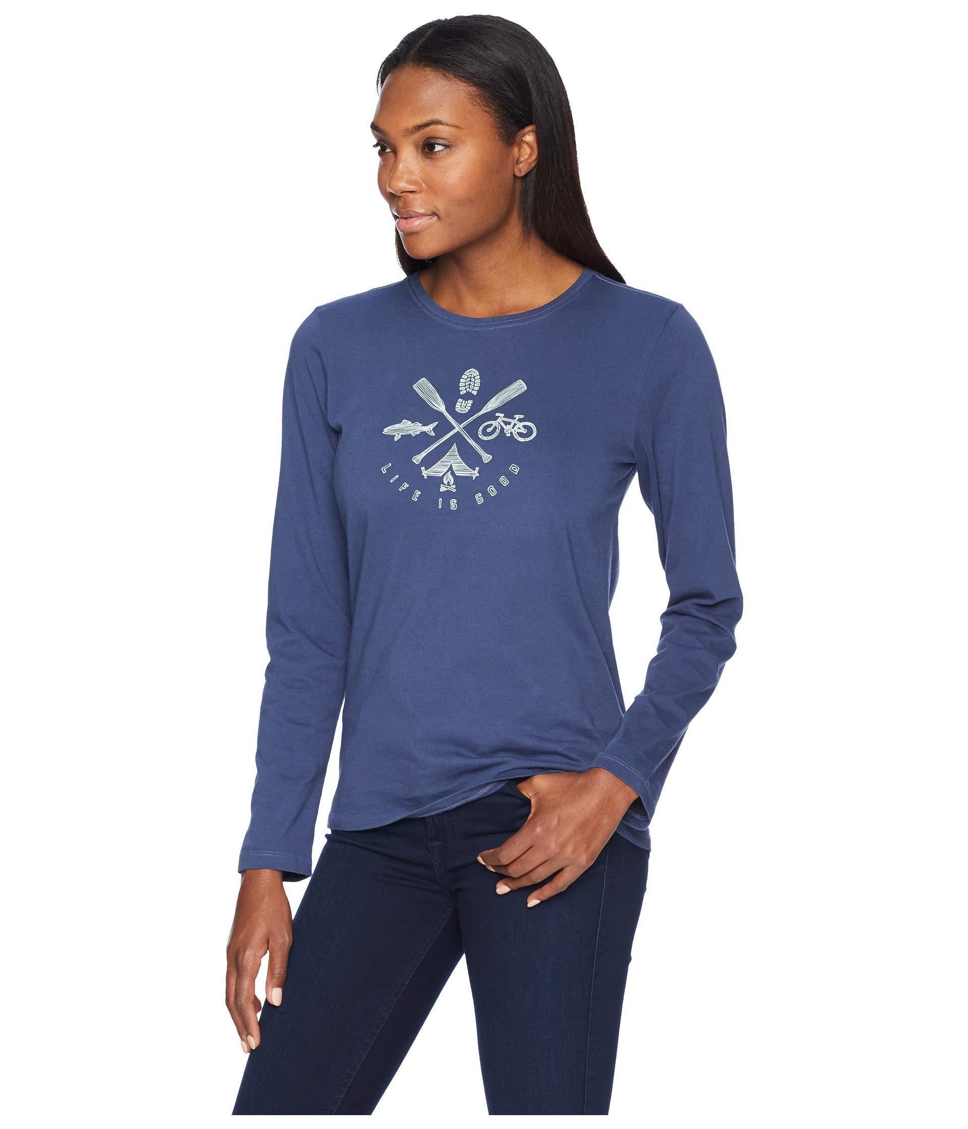 77353c3e4d14 Lyst - Life Is Good. Outdoor Action Crusher Long Sleeve T-shirt (darkest  Blue) Women's T Shirt in Blue
