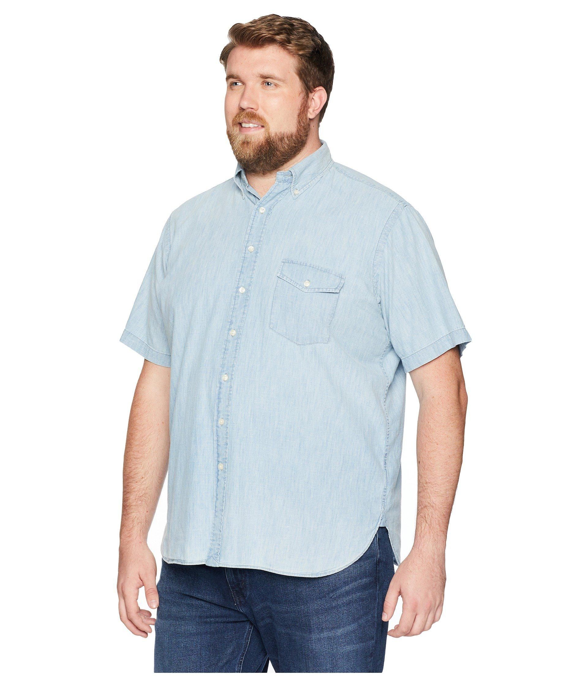 4dbdf6205 ... greece lyst polo ralph lauren big tall chambray short sleeve sport  shirt yacht blue white mens