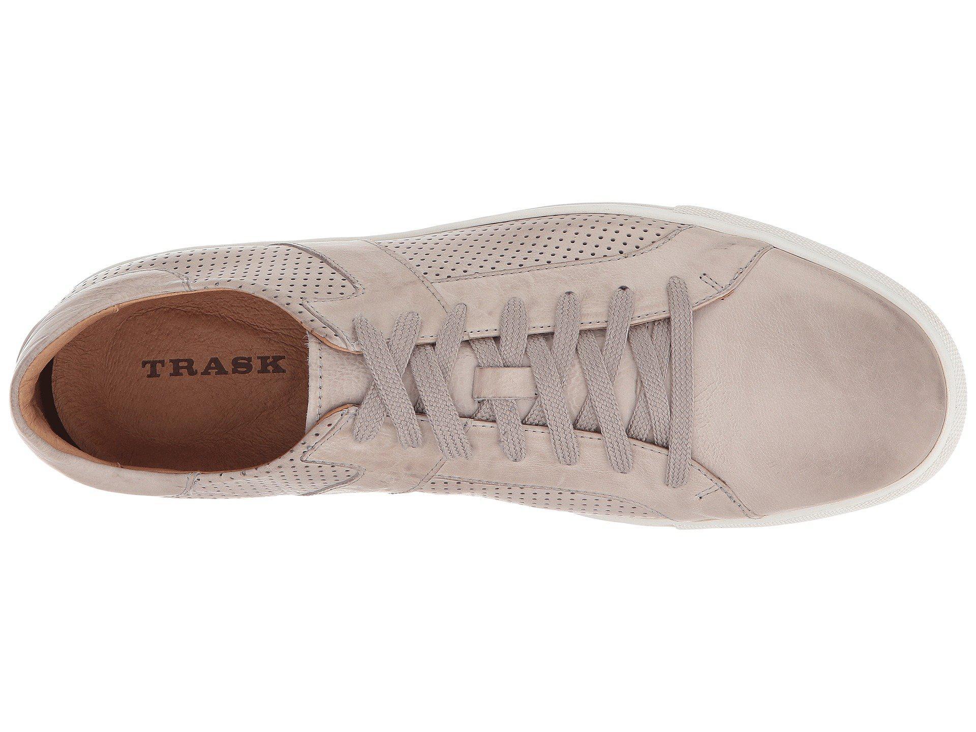 06c5ba23152 Trask Aaron Light Gray Calfskin Mens Flat Shoes Lay back and