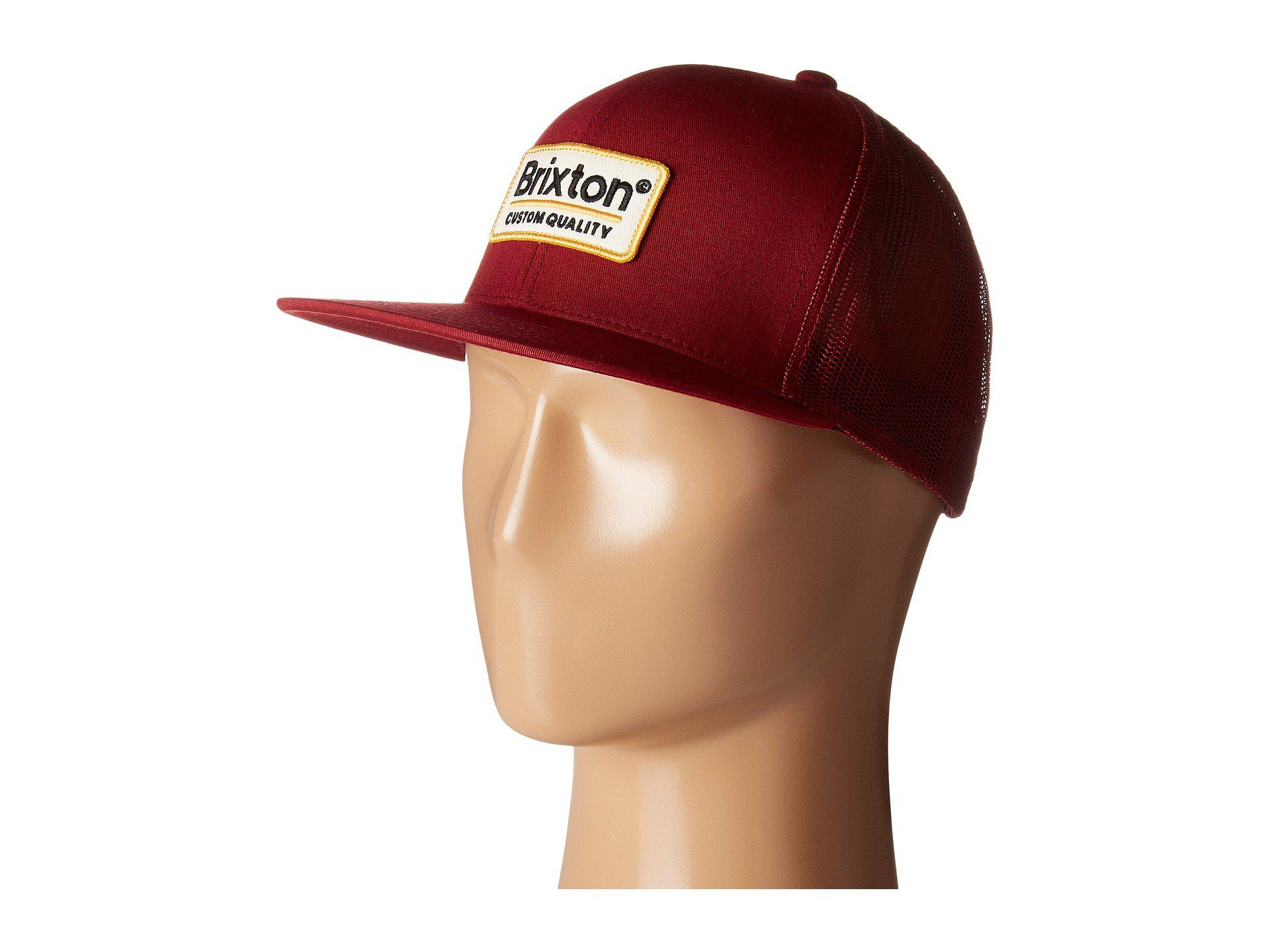 6ee81358 Lyst - Brixton Palmer Mesh Cap (pine) Caps in Red for Men