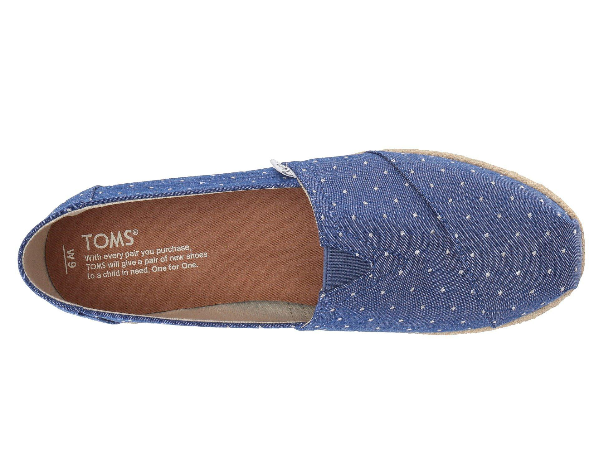 73cfce5fccac TOMS - Blue Seasonal Classics (black Dot Chambray) Women s Slip On Shoes -  Lyst. View fullscreen