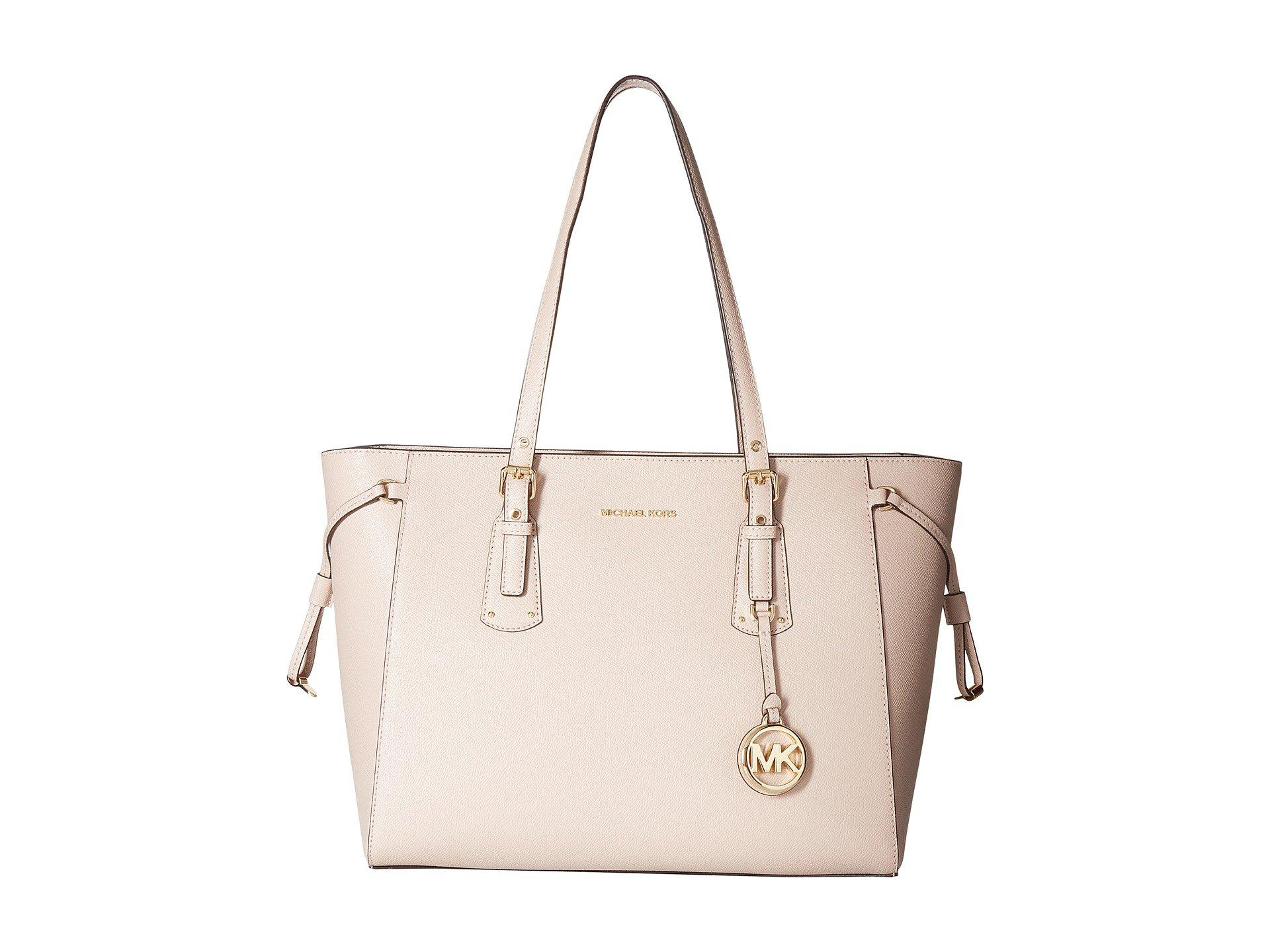 96a1386649e9 Lyst - MICHAEL Michael Kors Voyager Leather Tote Bag in Pink - Save 29%