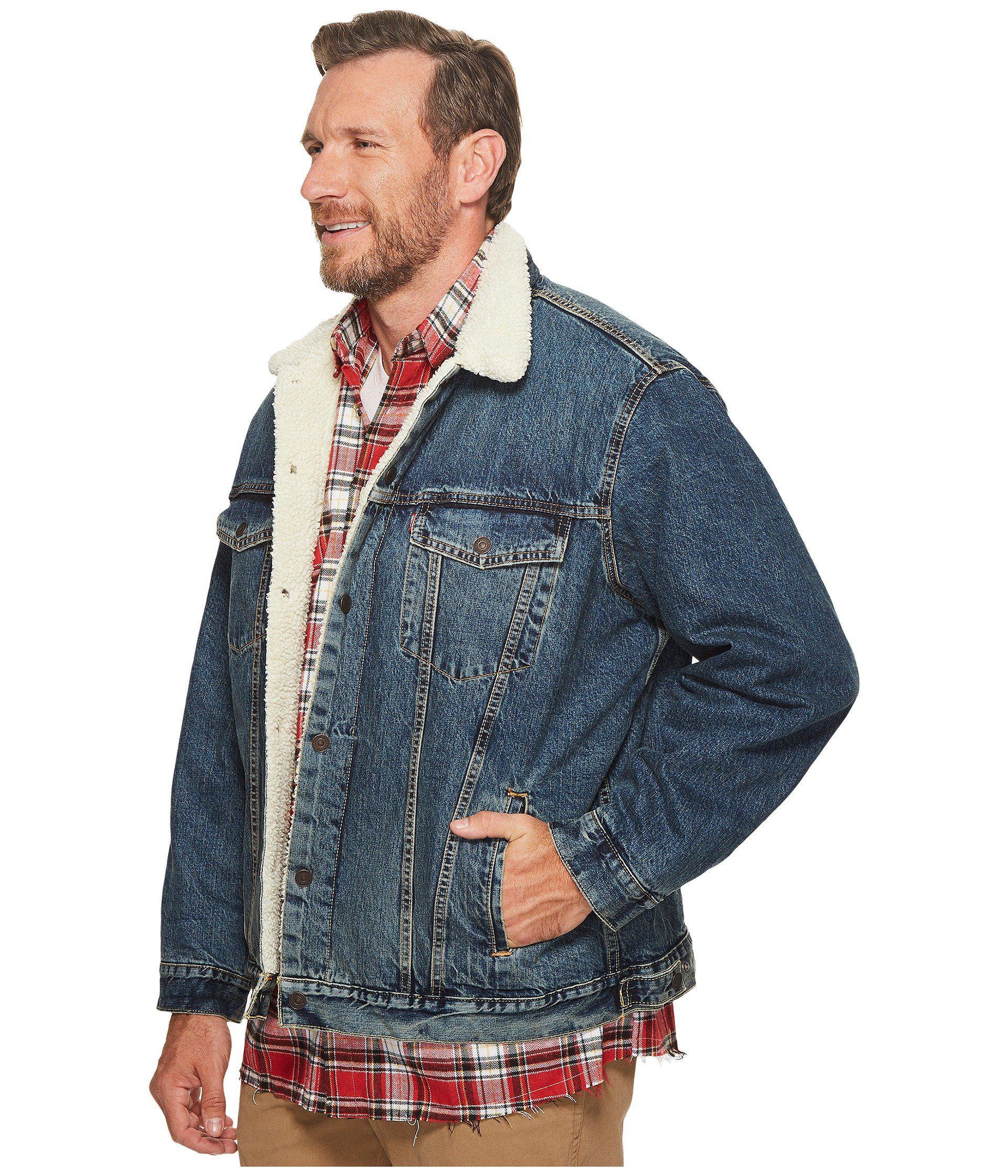 68a4ec935458 Lyst - Levi s Levi s(r) Big   Tall Big Tall Type Iii Sherpa Trucker Jacket (go  Set Sherpa) Men s Coat in Blue for Men