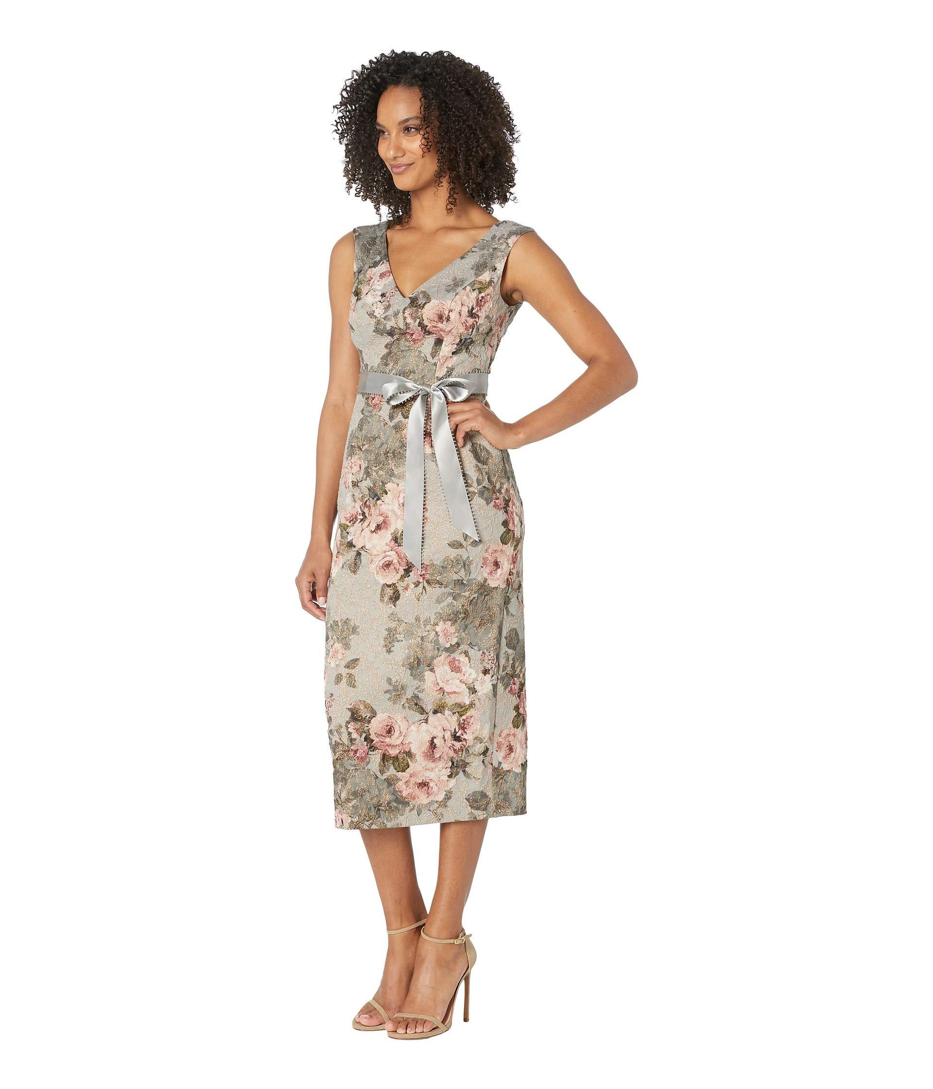 99570e36a4c6 Lyst - Adrianna Papell Metallic Matlesse Floral Midi Dress With ...