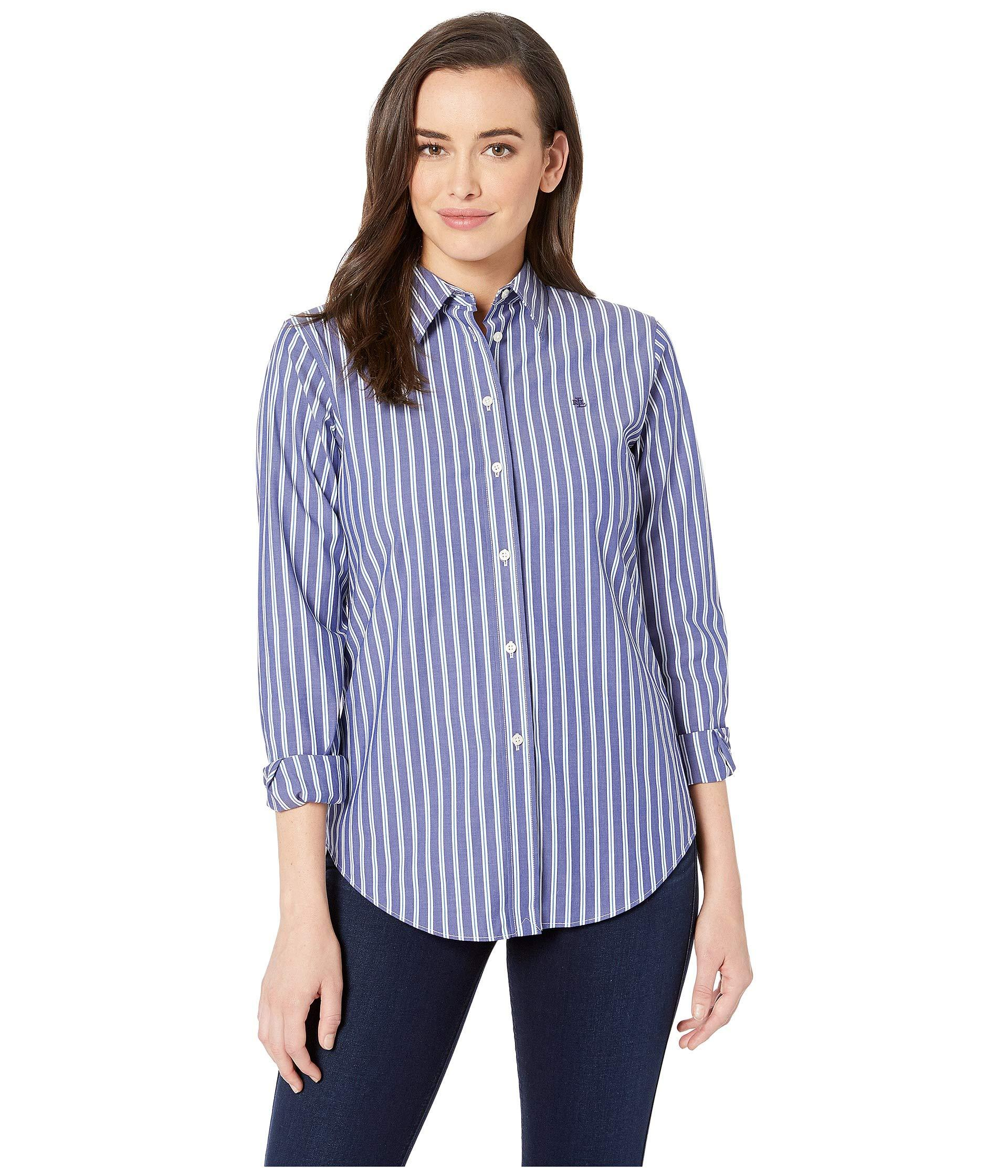 Lyst Lauren By Ralph Lauren Embroidered Button Down Shirt Purple