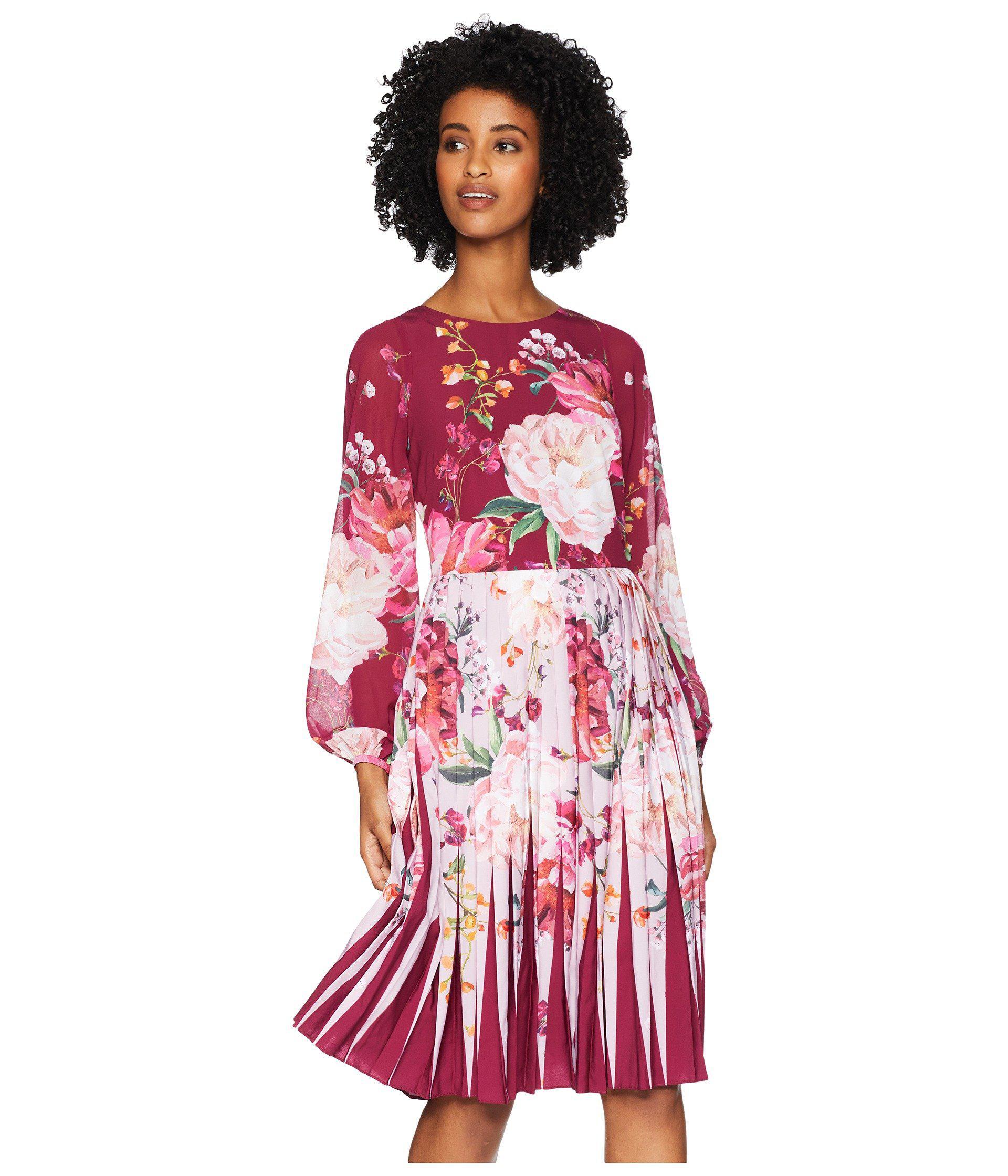 a3766b23f89f81 Lyst - Ted Baker Esperan Serenity Contrast Pleat Dress (maroon ...