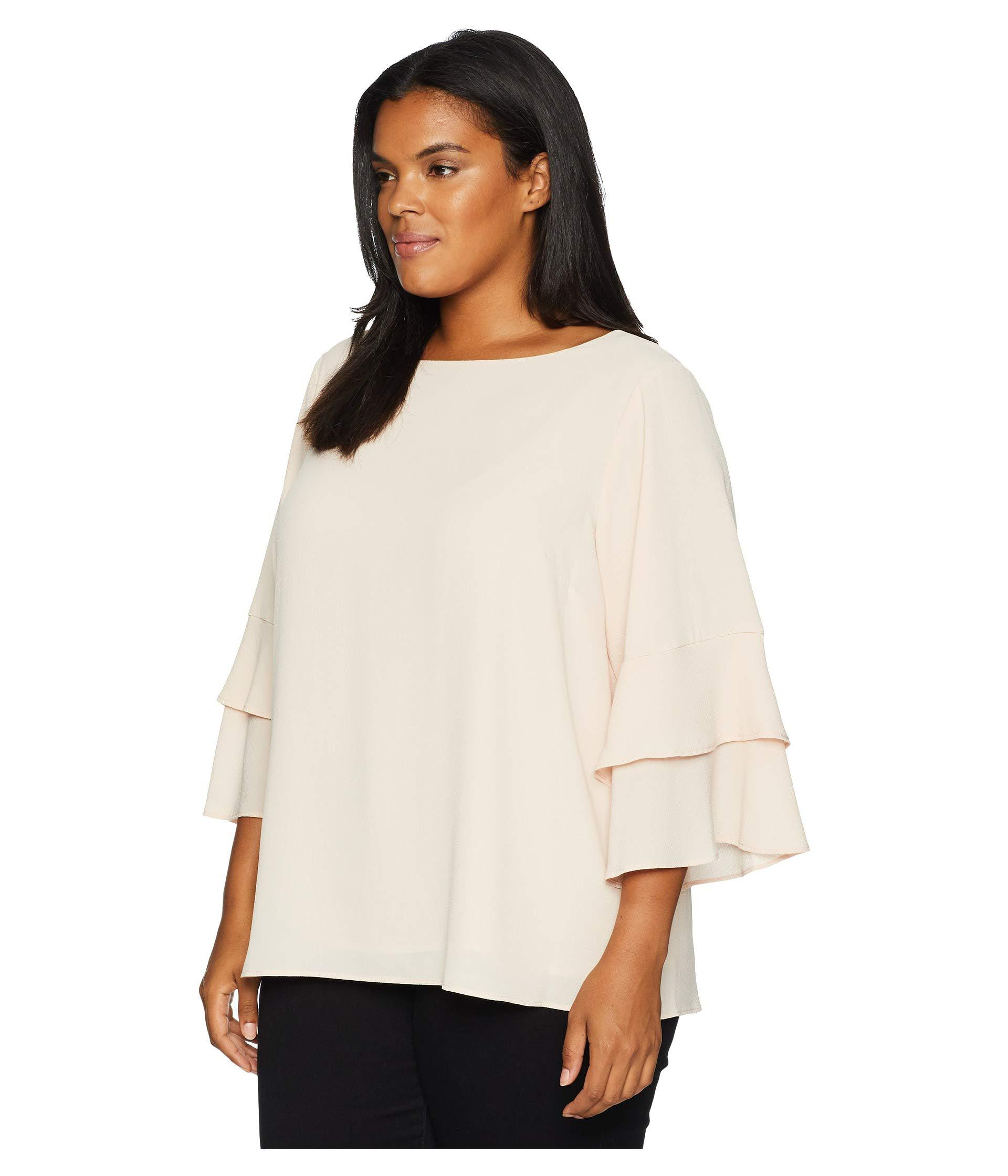 Lyst Calvin Klein Plus Size 3 Tier Sleeve Textured Blouse Blush