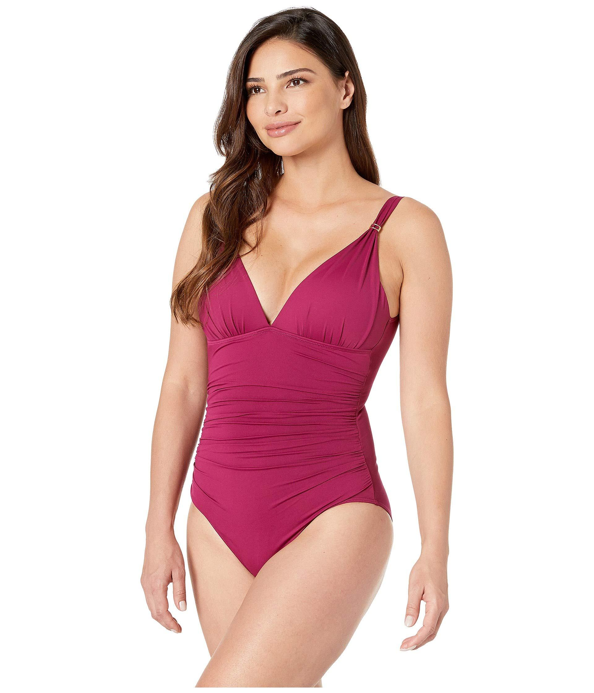 79d624e906 Lyst - Lauren by Ralph Lauren Beach Club Solids Slimming Fit Over The  Shoulder One-piece (plum) Women's Swimsuits One Piece in Purple