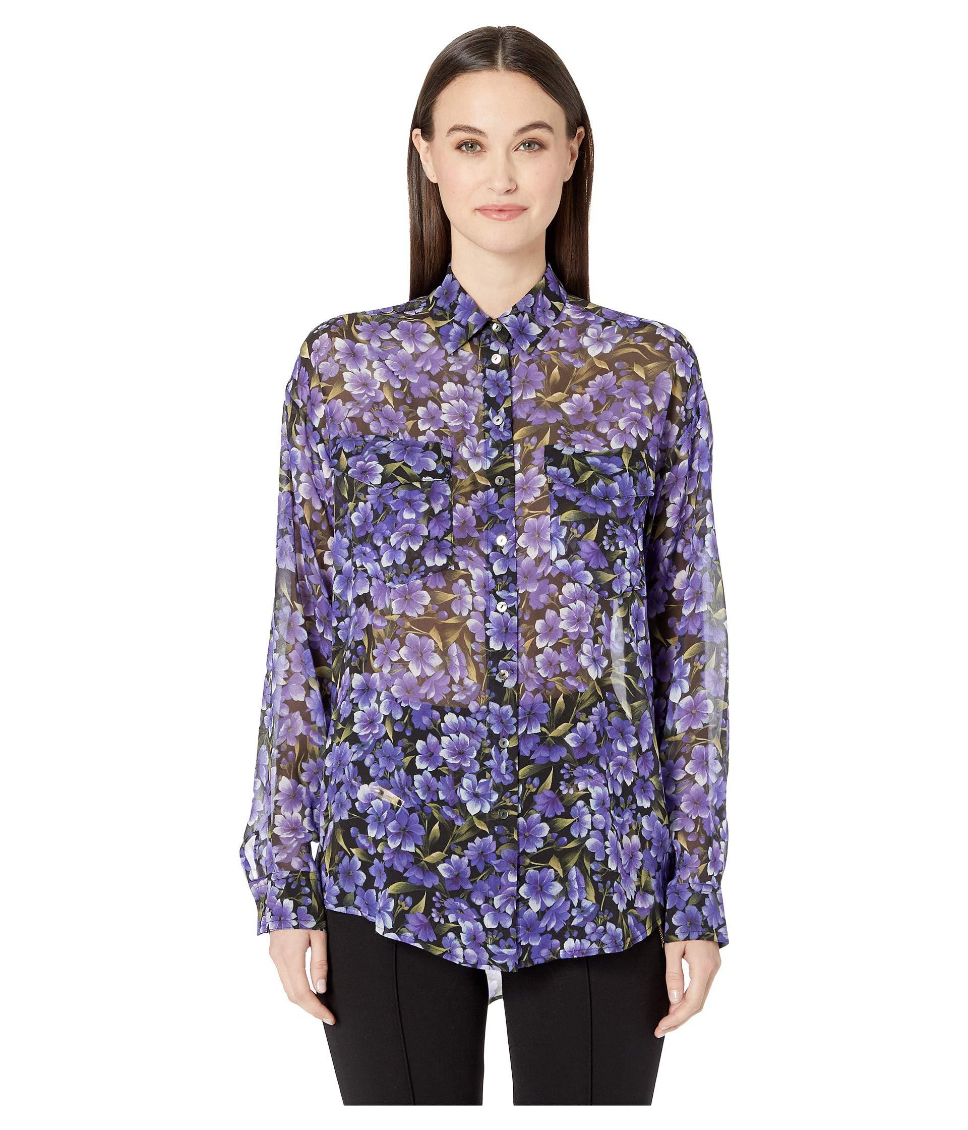 Lyst The Kooples Hydrangea Print Shirt Blackpurple Womens