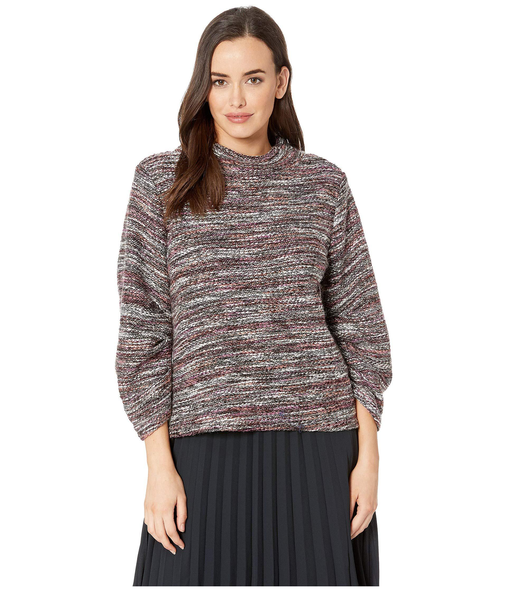 Camuto Neck Gathered Mock Multicolor Boucle Lyst Top Vince Sleeve O1xqPA