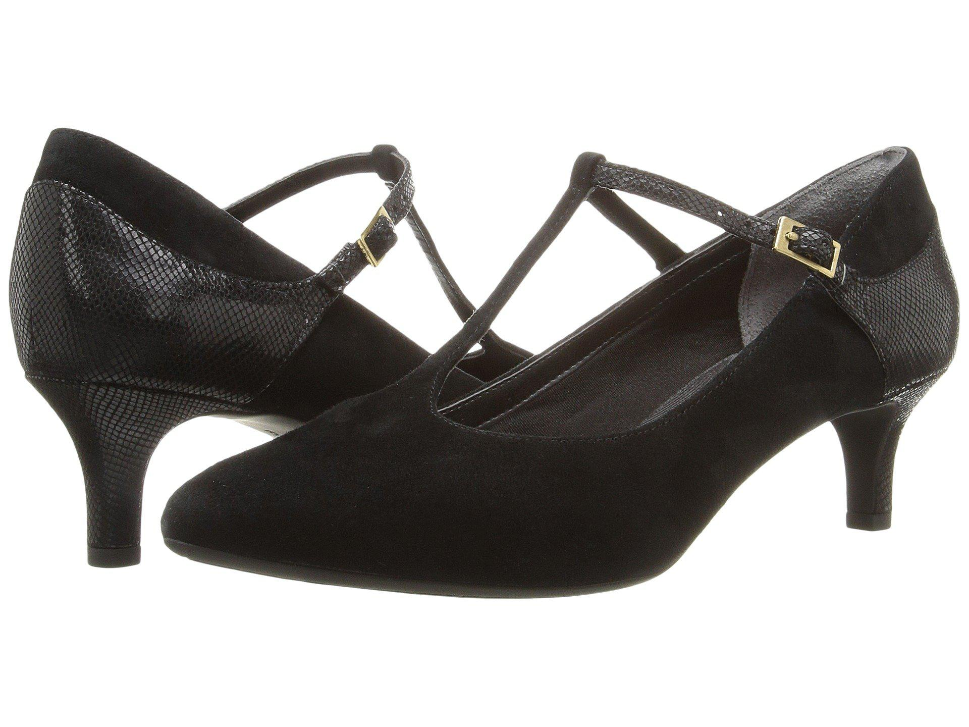 77a6cb56a74 Rockport. Total Motion Kalila T-strap (black Kid Suede) Women s Shoes
