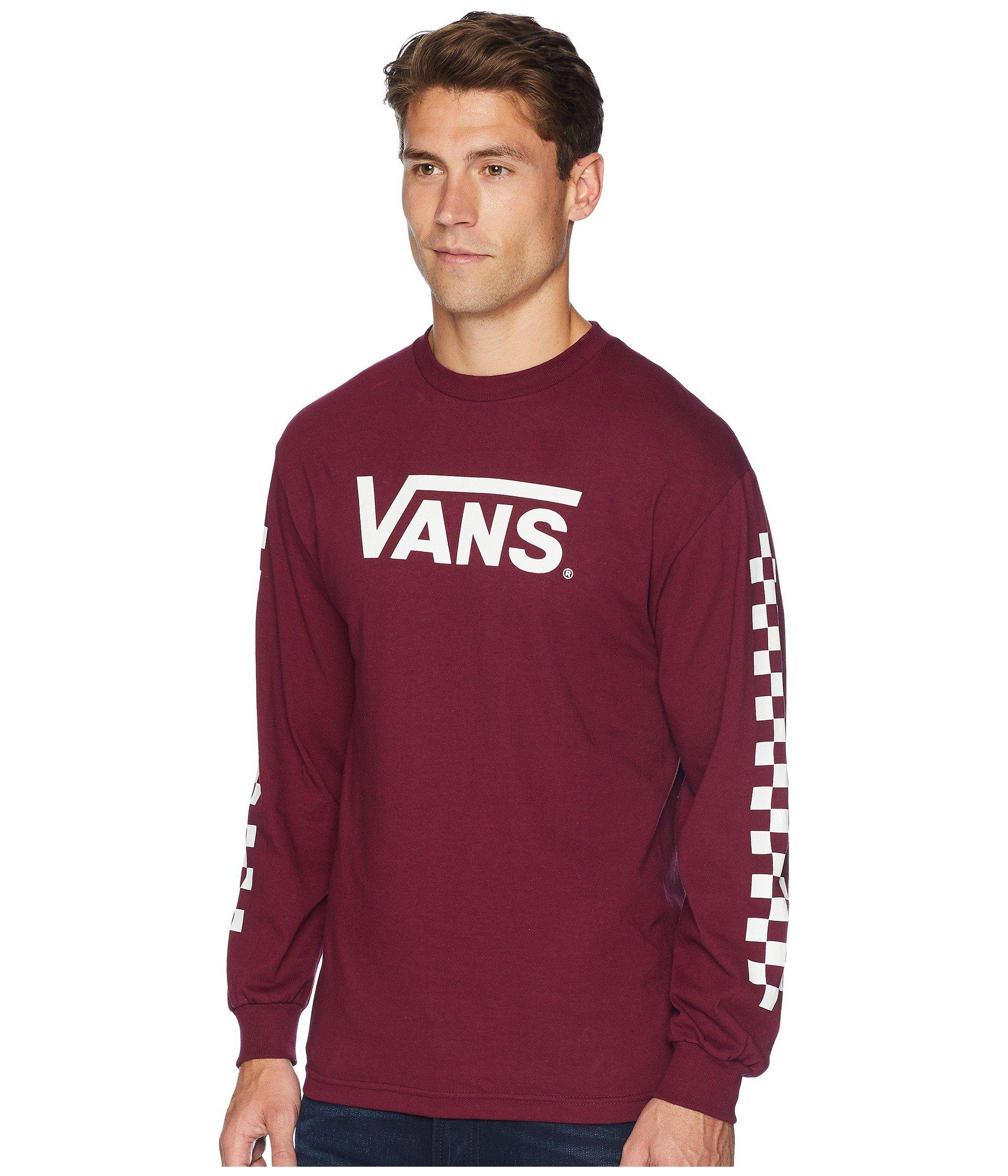 4c1ab4ae993 Lyst - Vans Classic Checks Long Sleeve T-shirt (burgundy) Men s Long Sleeve  Pullover in Red for Men