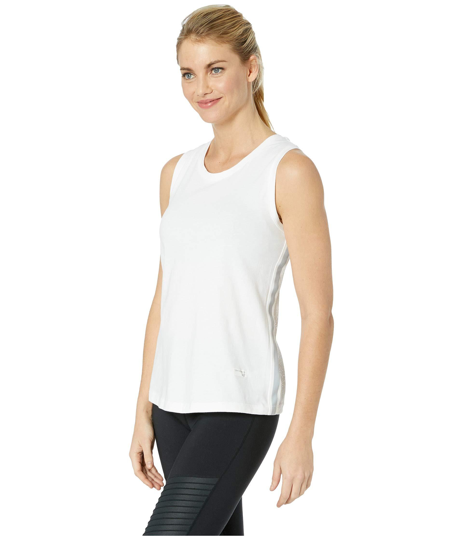 583eed70077fd Lyst - New Balance Athletics Racerback Tank Top (black white) Women s  Sleeveless in White