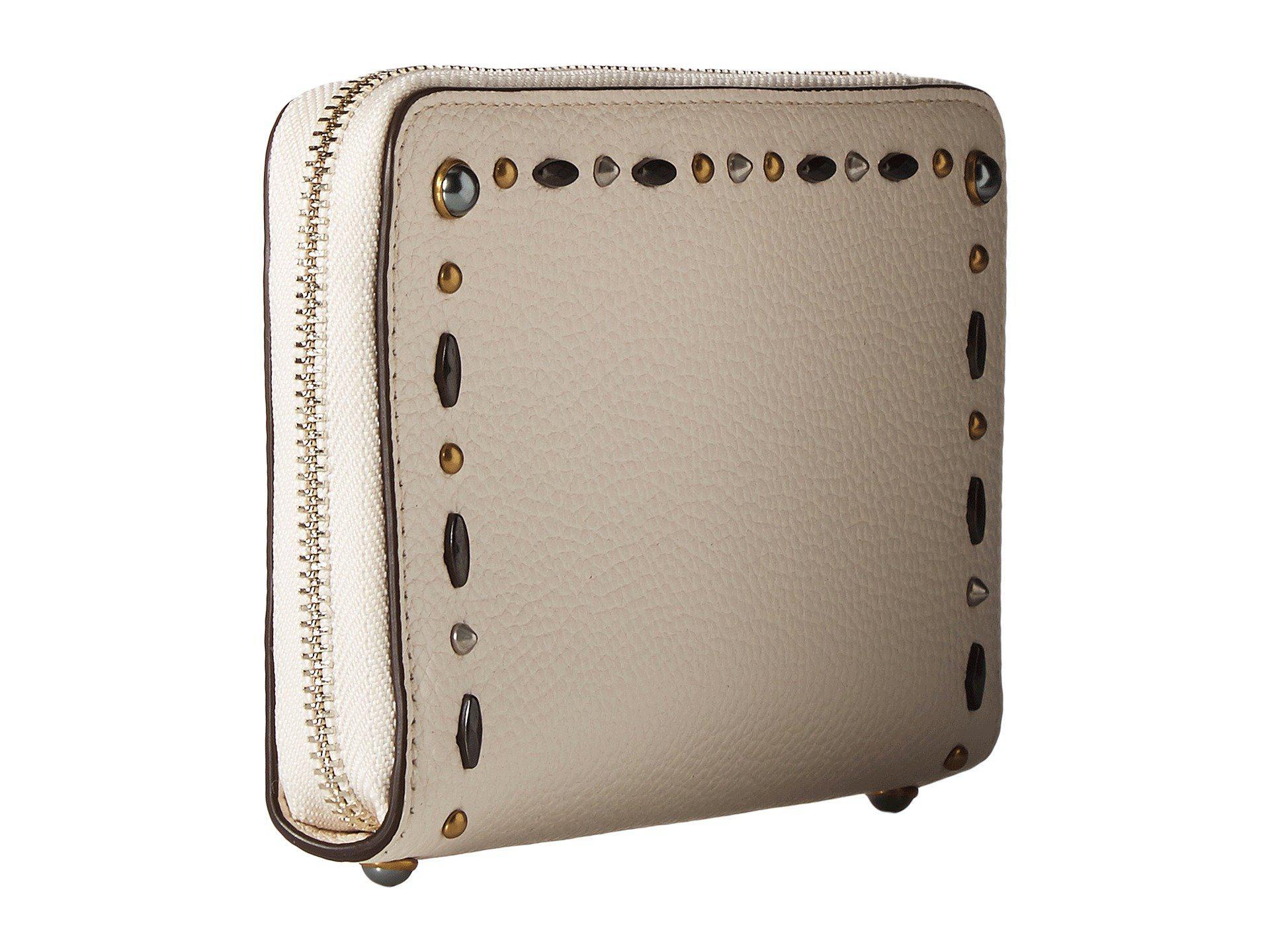 4871b543e8b Lyst - COACH Medium Zip Around Wallet With Prairie Rivets