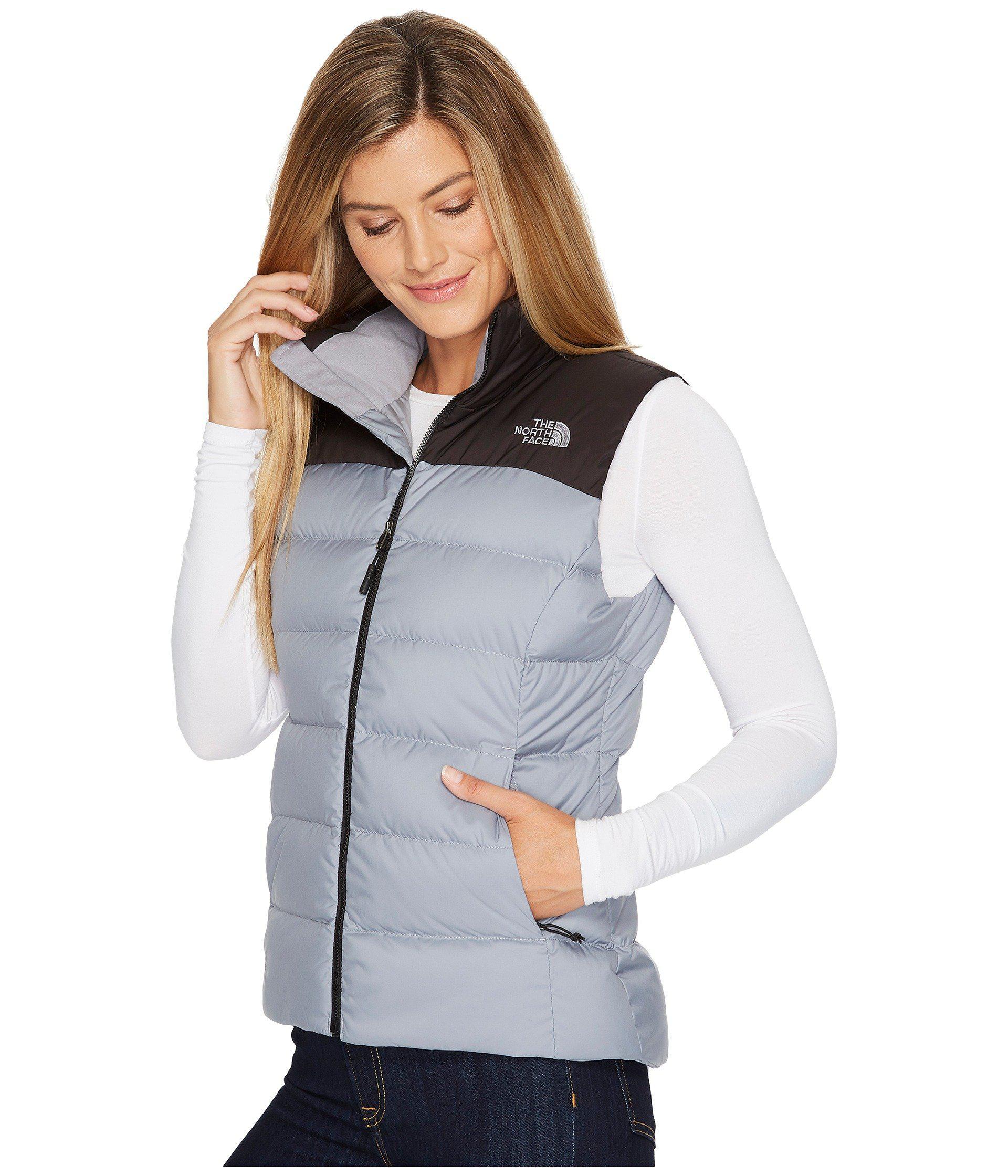 Lyst - The North Face Nuptse Vest (tnf White tnf Black) Women s Jacket in  Gray 052d0e208