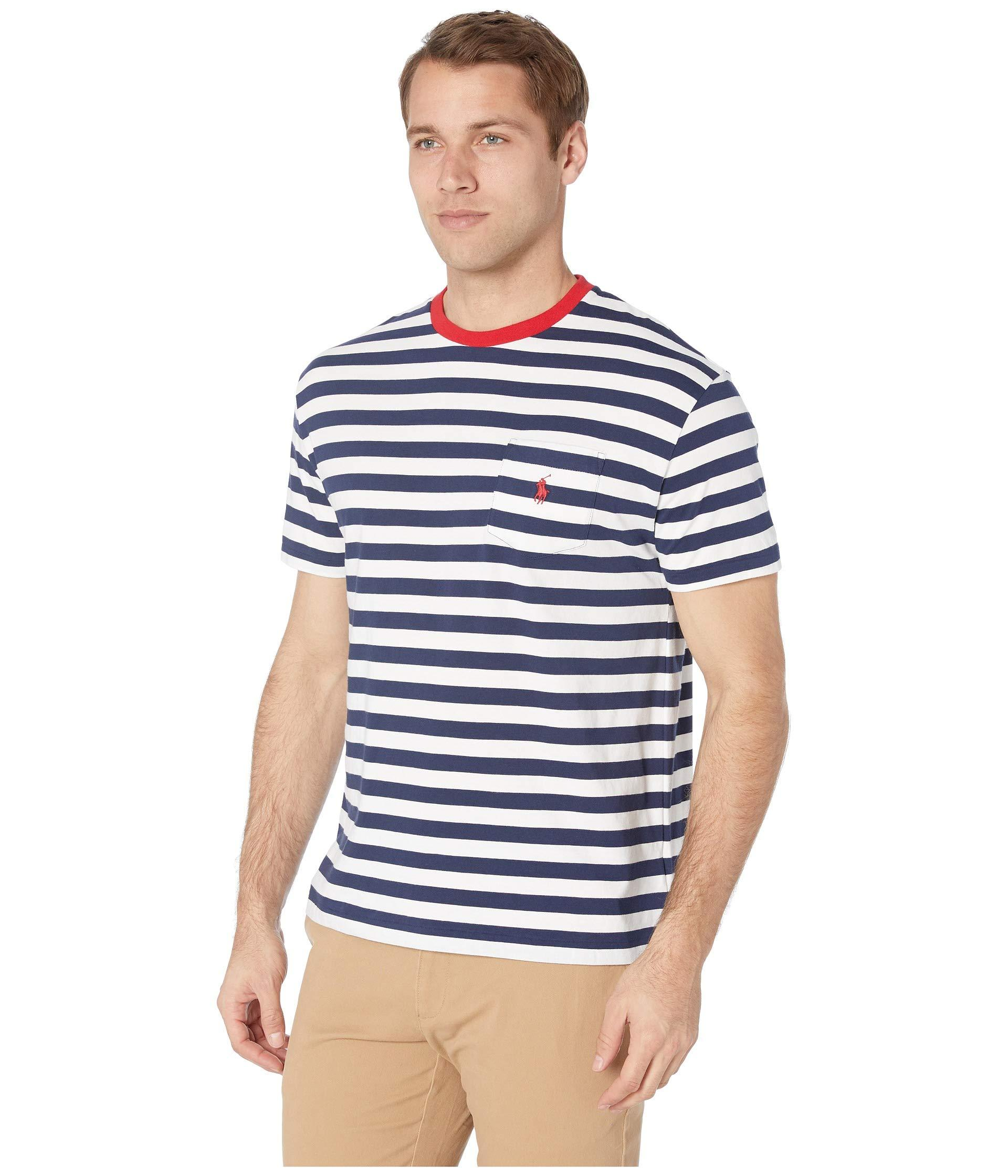 b15247ba59bc Lyst - Polo Ralph Lauren Short Sleeve Classic Fit Pocket Tee (cruise  Red white) Men s T Shirt in Blue for Men