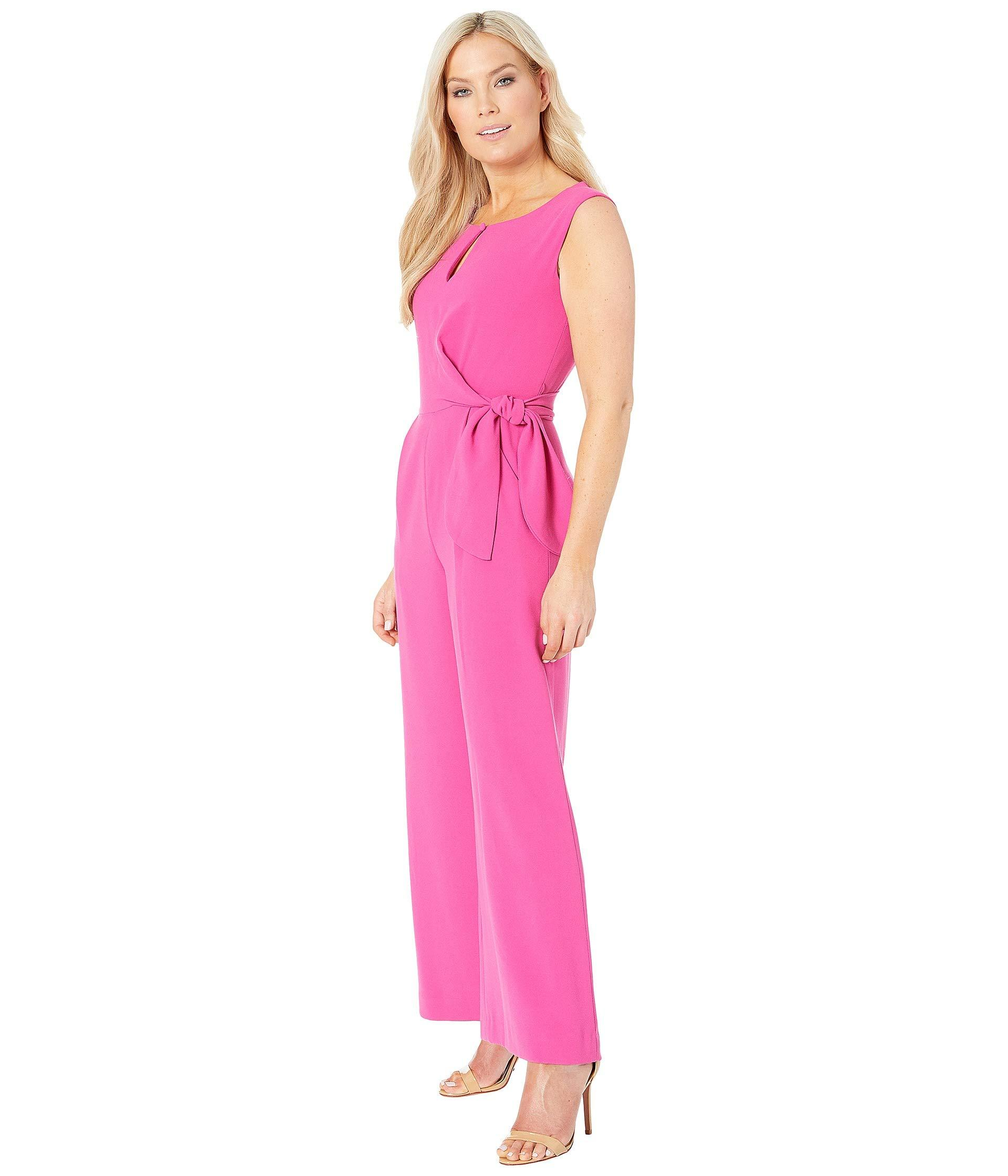 5861bb9f99d8 Lyst - Tahari Petite Tie Waist Crepe Jumpsuit (berry) Women s Jumpsuit    Rompers One Piece in Pink