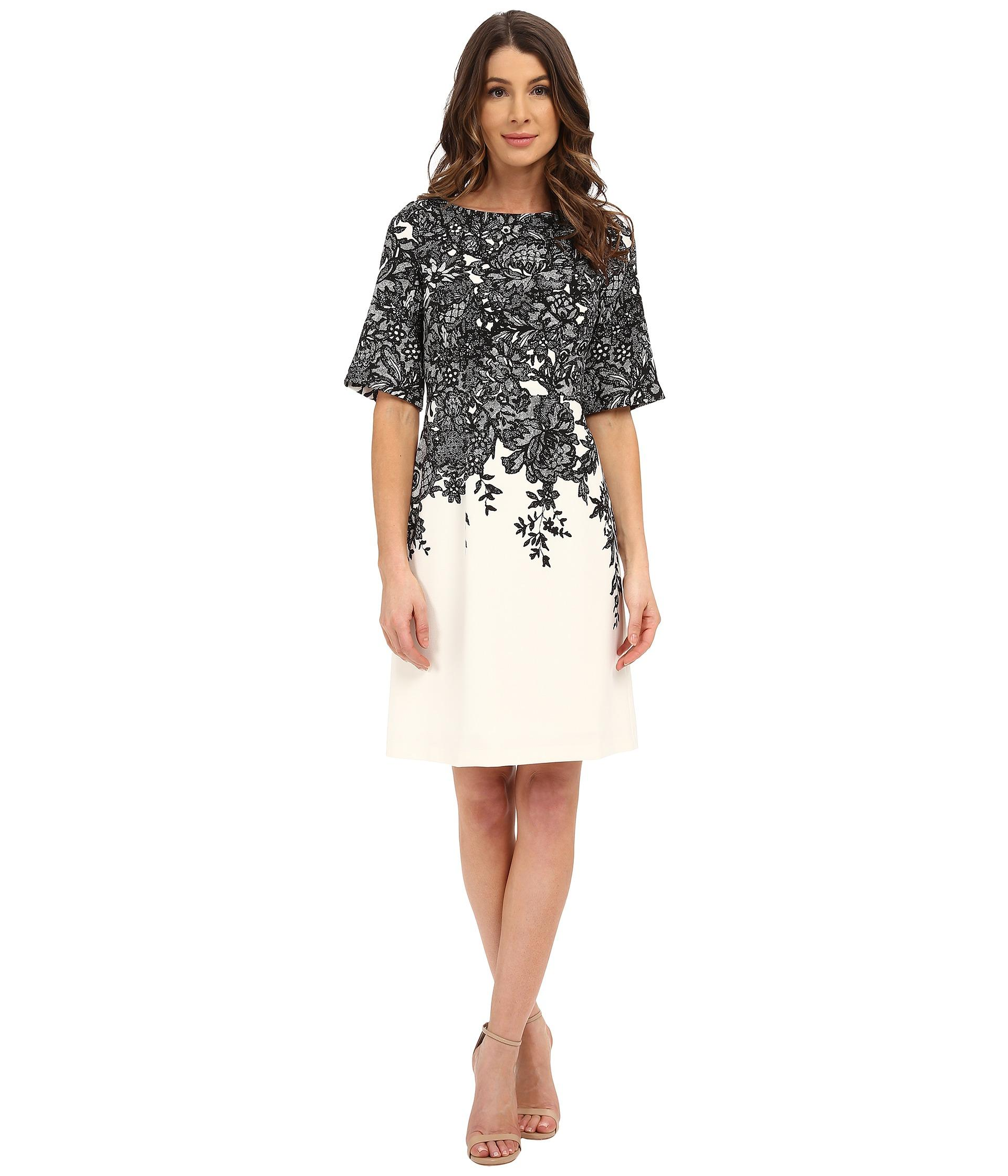 Lyst Adrianna Papell Elbow Length Bell Sleeve A Line