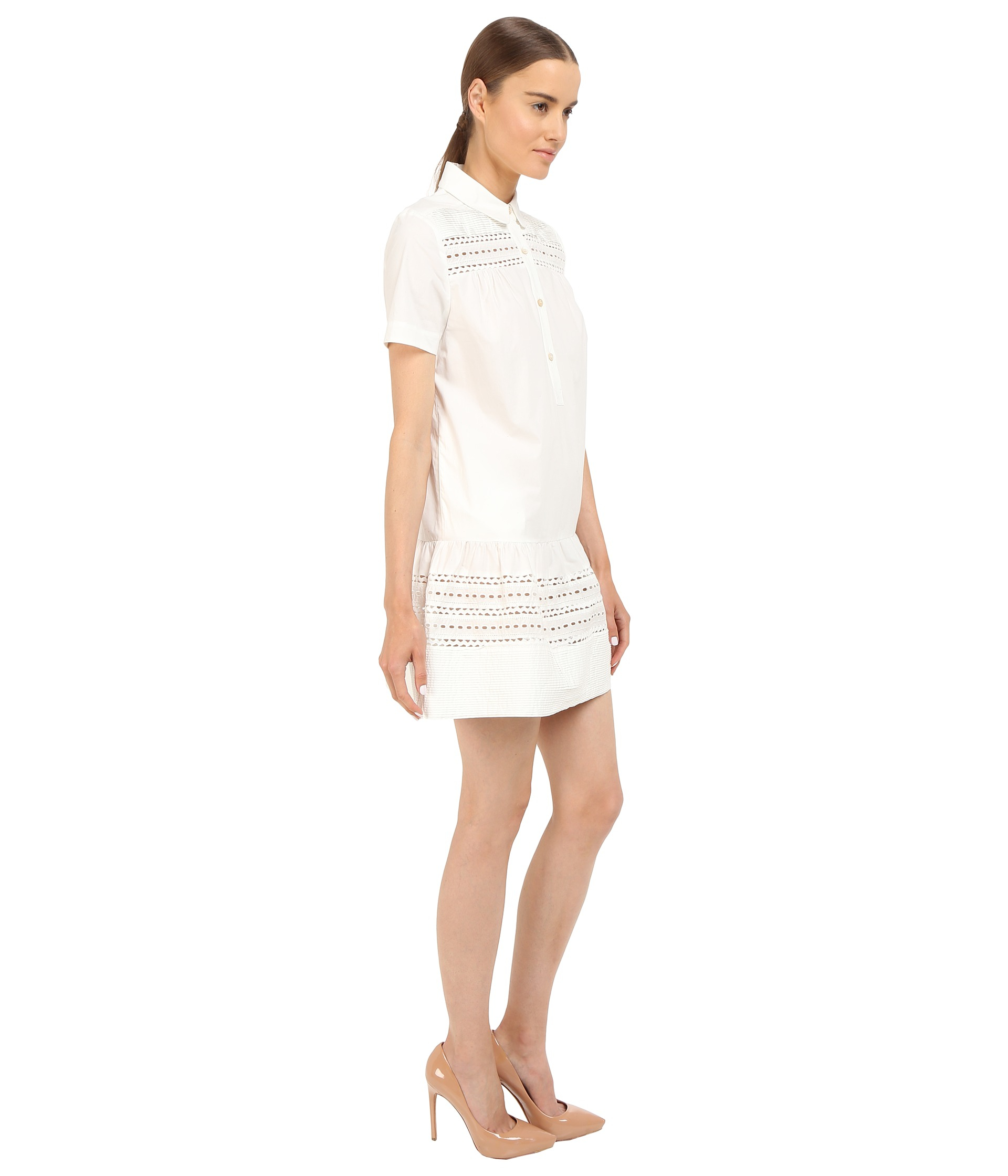 Red valentino polka dot cut out embroidery dress in white