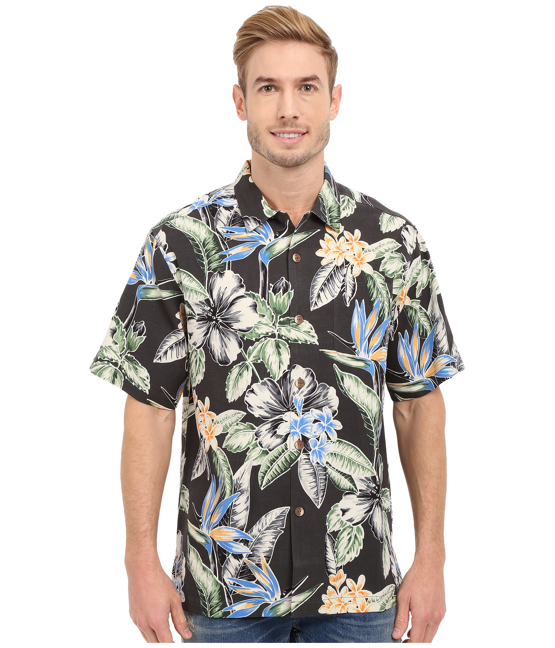 Lyst tommy bahama big island blooms tortola silk camp for Tommy bahama short sleeve silk camp shirt