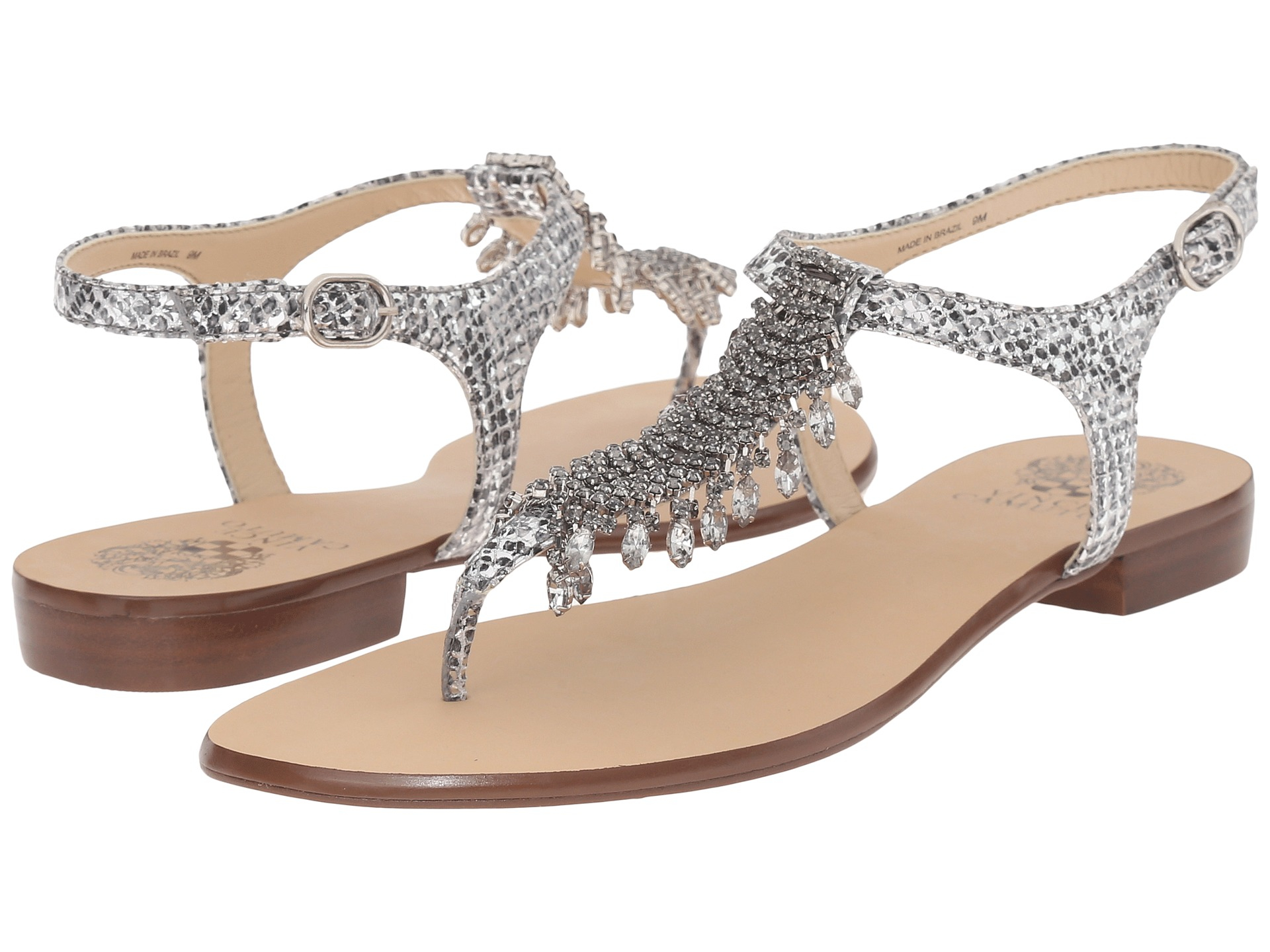 Lyst Vince Camuto Jachai Jeweled T Strap Sandals In Metallic