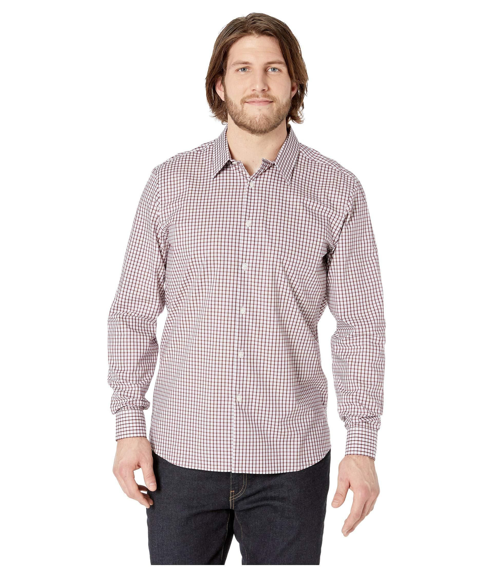 30492f41ec4e Lyst - Perry Ellis Small Check Resist Spill Shirt (brick Red) Men s ...