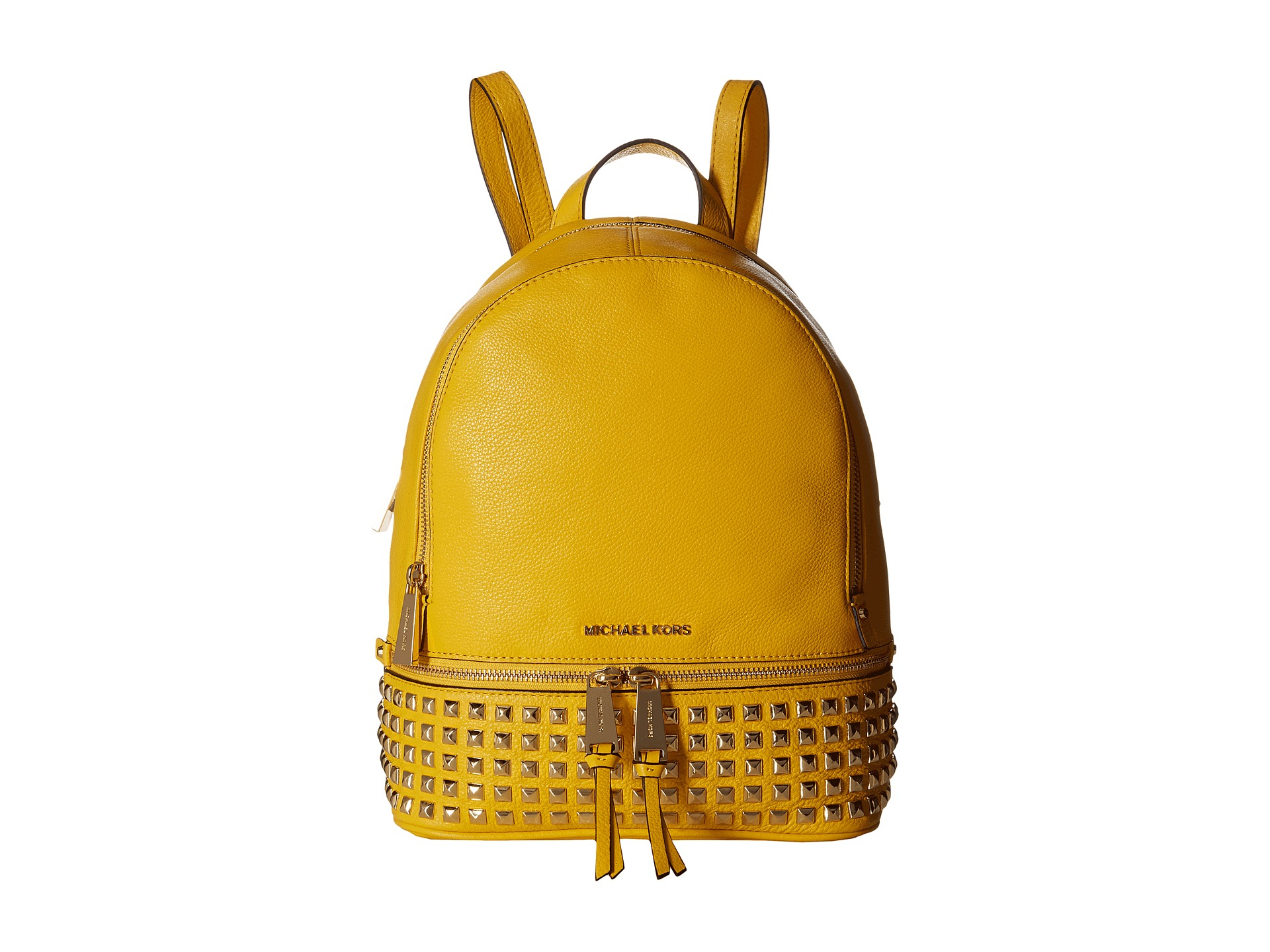 53bfc62291150 ... where to buy lyst michael michael kors rhea zip small studded backpack  in yellow fd7dd 6669c ...