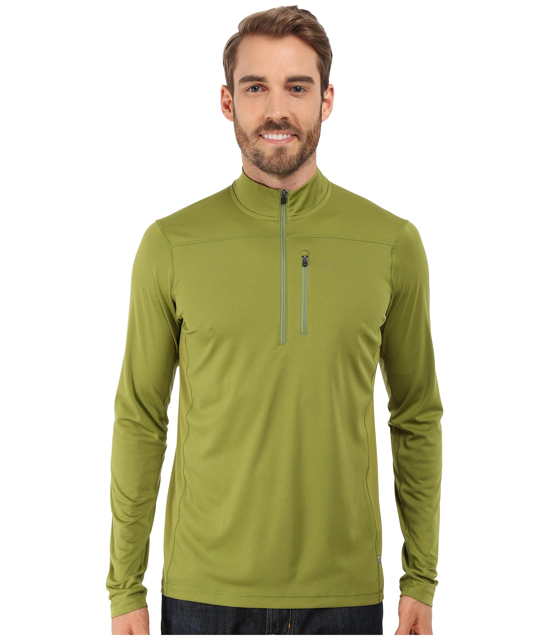 bester Platz schön Design achten Sie auf Fjallraven Green Abisko Vent Zip T-shirt Long Sleeve for men